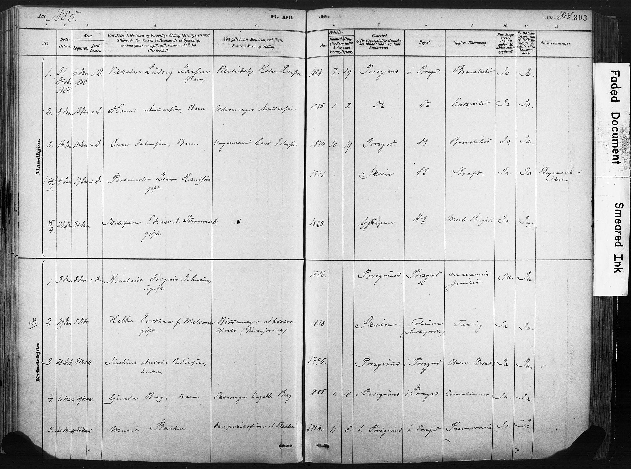 SAKO, Porsgrunn kirkebøker , F/Fa/L0008: Ministerialbok nr. 8, 1878-1895, s. 393