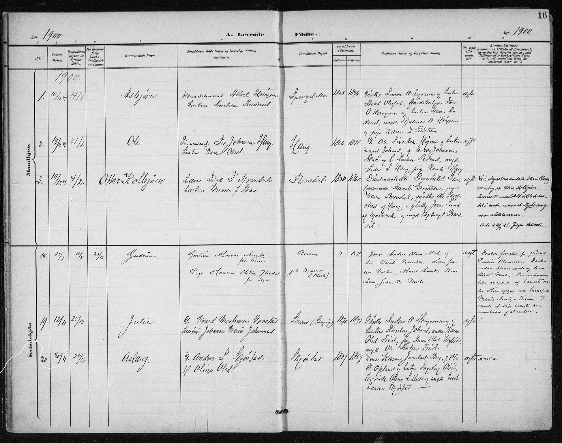 SAT, Ministerialprotokoller, klokkerbøker og fødselsregistre - Sør-Trøndelag, 612/L0380: Ministerialbok nr. 612A12, 1898-1907, s. 16