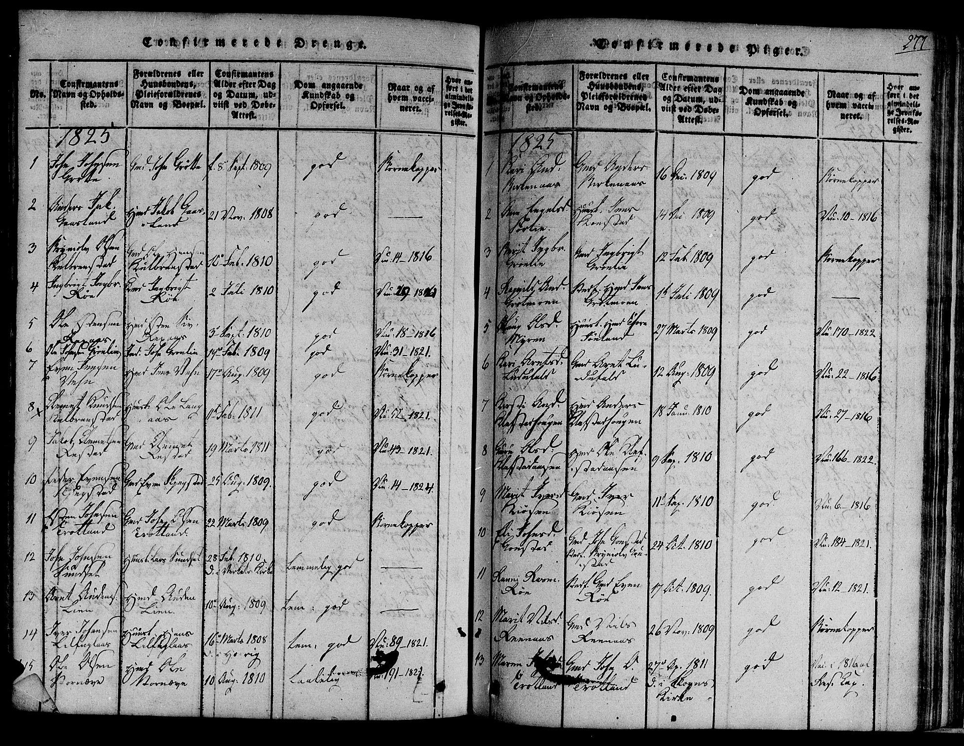 SAT, Ministerialprotokoller, klokkerbøker og fødselsregistre - Sør-Trøndelag, 691/L1068: Ministerialbok nr. 691A03 /4, 1816-1826, s. 277