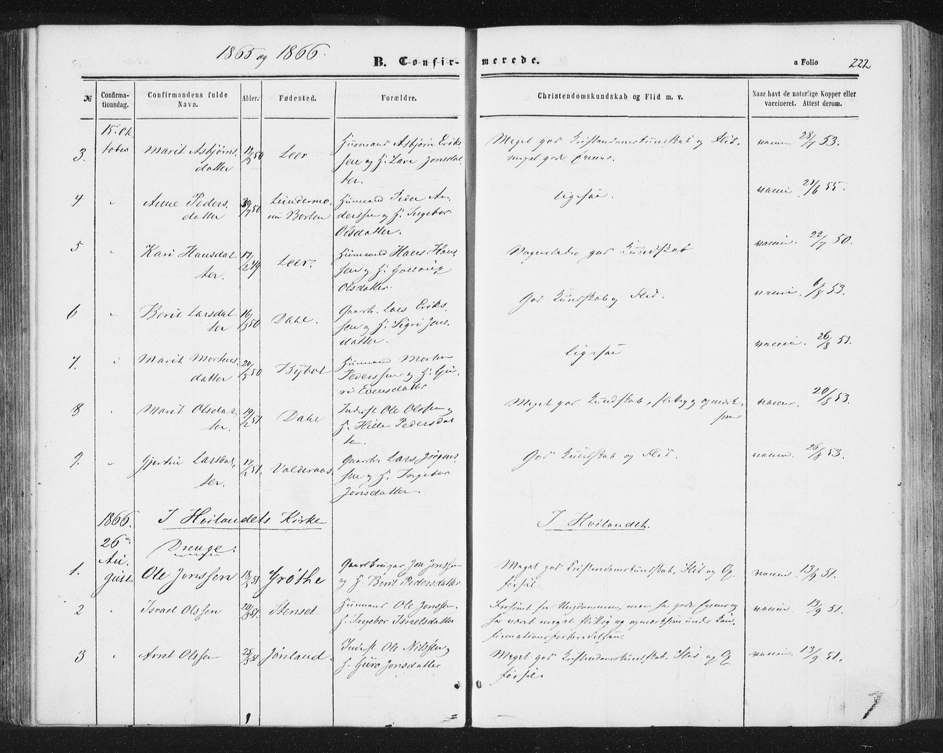 SAT, Ministerialprotokoller, klokkerbøker og fødselsregistre - Sør-Trøndelag, 691/L1077: Ministerialbok nr. 691A09, 1862-1873, s. 222