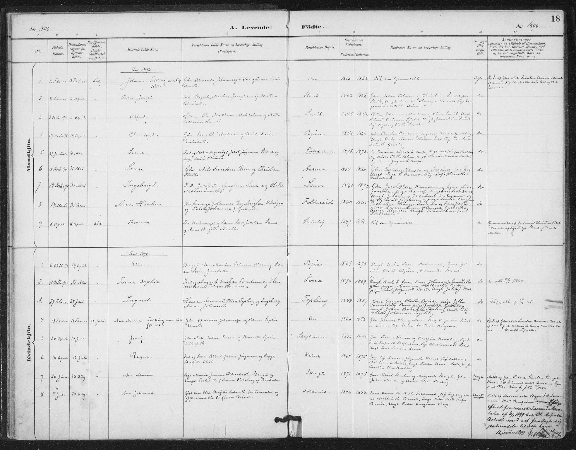 SAT, Ministerialprotokoller, klokkerbøker og fødselsregistre - Nord-Trøndelag, 783/L0660: Ministerialbok nr. 783A02, 1886-1918, s. 18