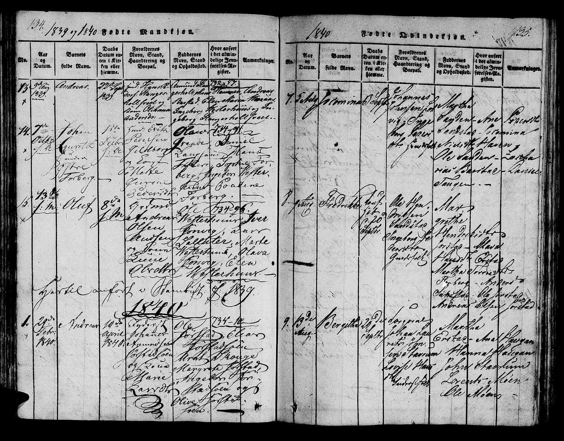SAT, Ministerialprotokoller, klokkerbøker og fødselsregistre - Nord-Trøndelag, 722/L0217: Ministerialbok nr. 722A04, 1817-1842, s. 134-135