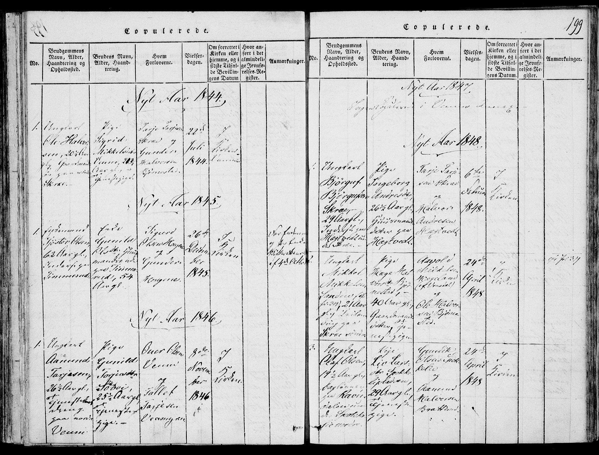 SAKO, Fyresdal kirkebøker, F/Fb/L0001: Ministerialbok nr. II 1, 1815-1854, s. 199