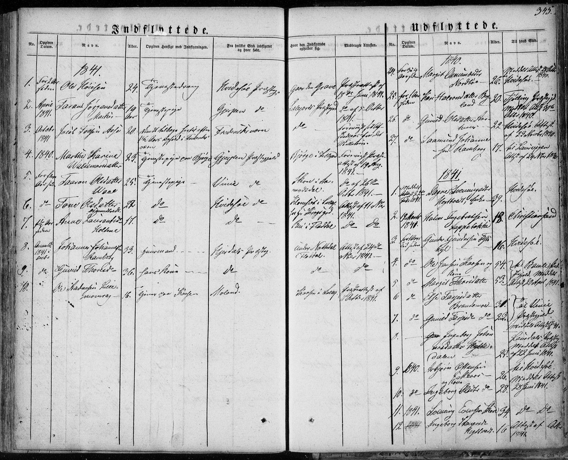 SAKO, Seljord kirkebøker, F/Fa/L0011: Ministerialbok nr. I 11, 1831-1849, s. 345