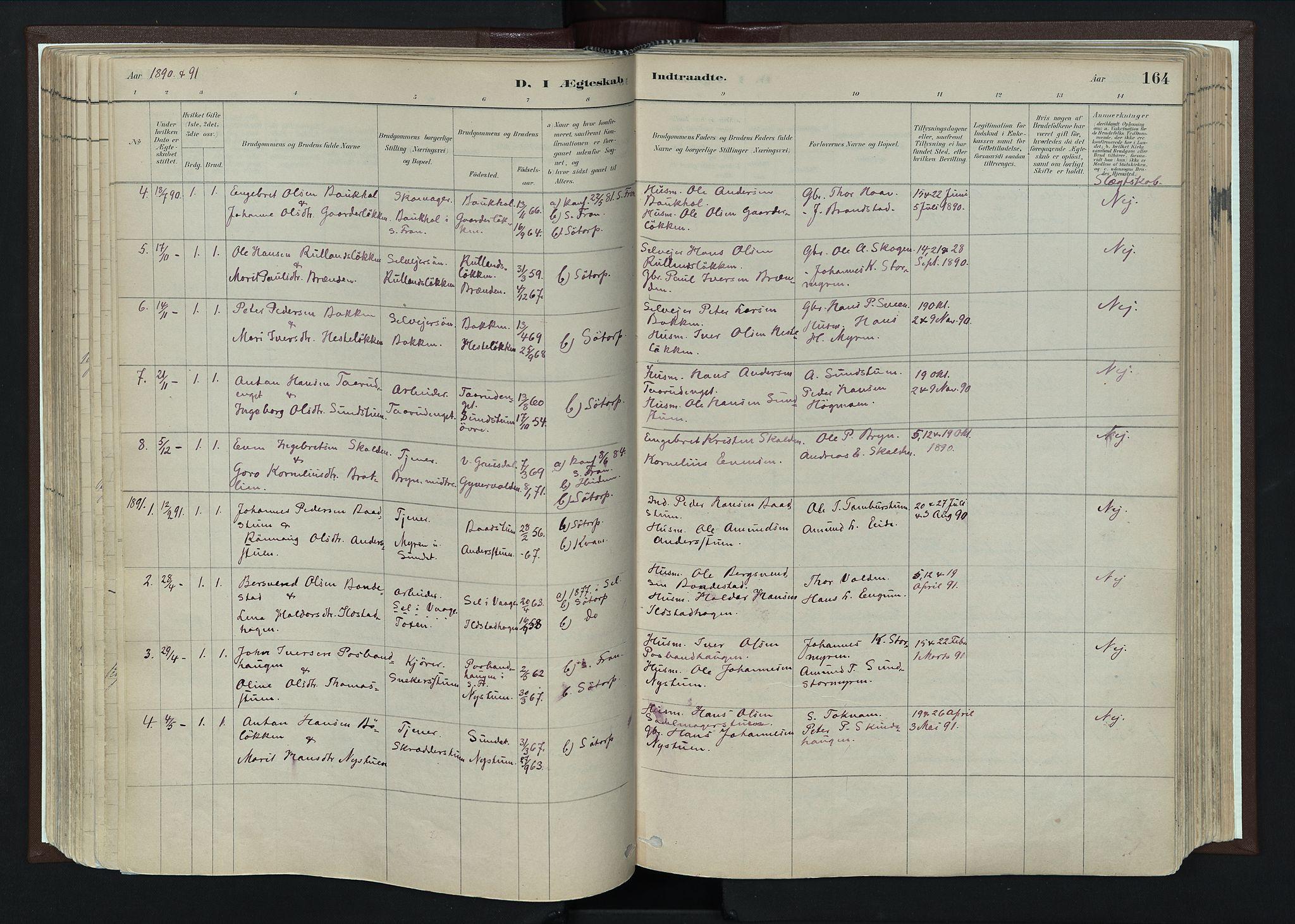SAH, Nord-Fron prestekontor, Ministerialbok nr. 4, 1884-1914, s. 164