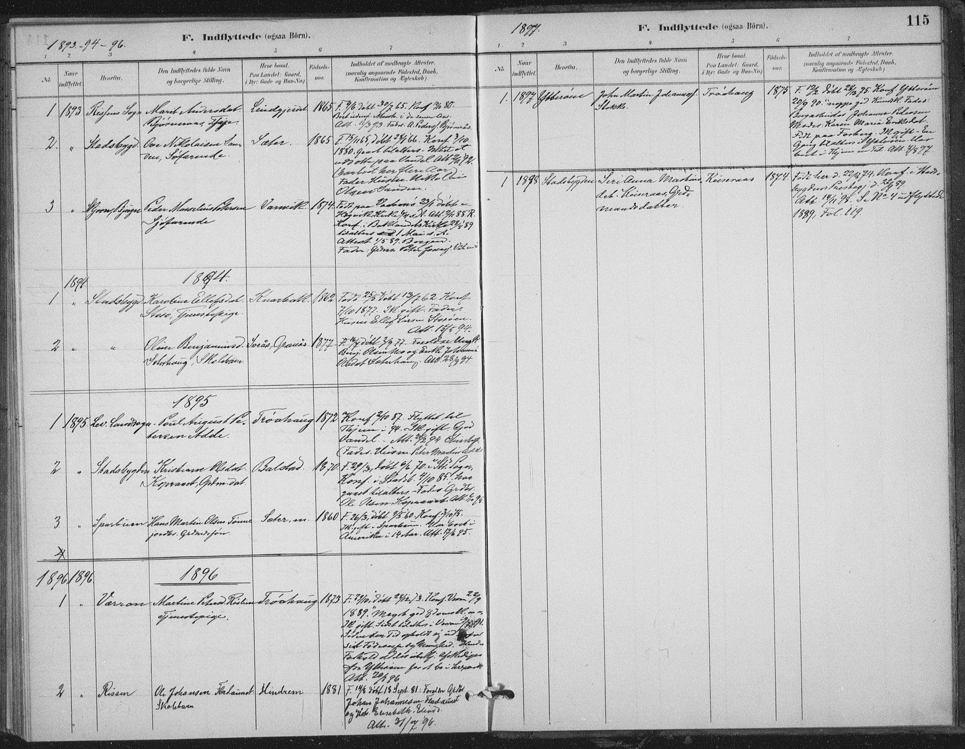 SAT, Ministerialprotokoller, klokkerbøker og fødselsregistre - Nord-Trøndelag, 702/L0023: Ministerialbok nr. 702A01, 1883-1897, s. 115