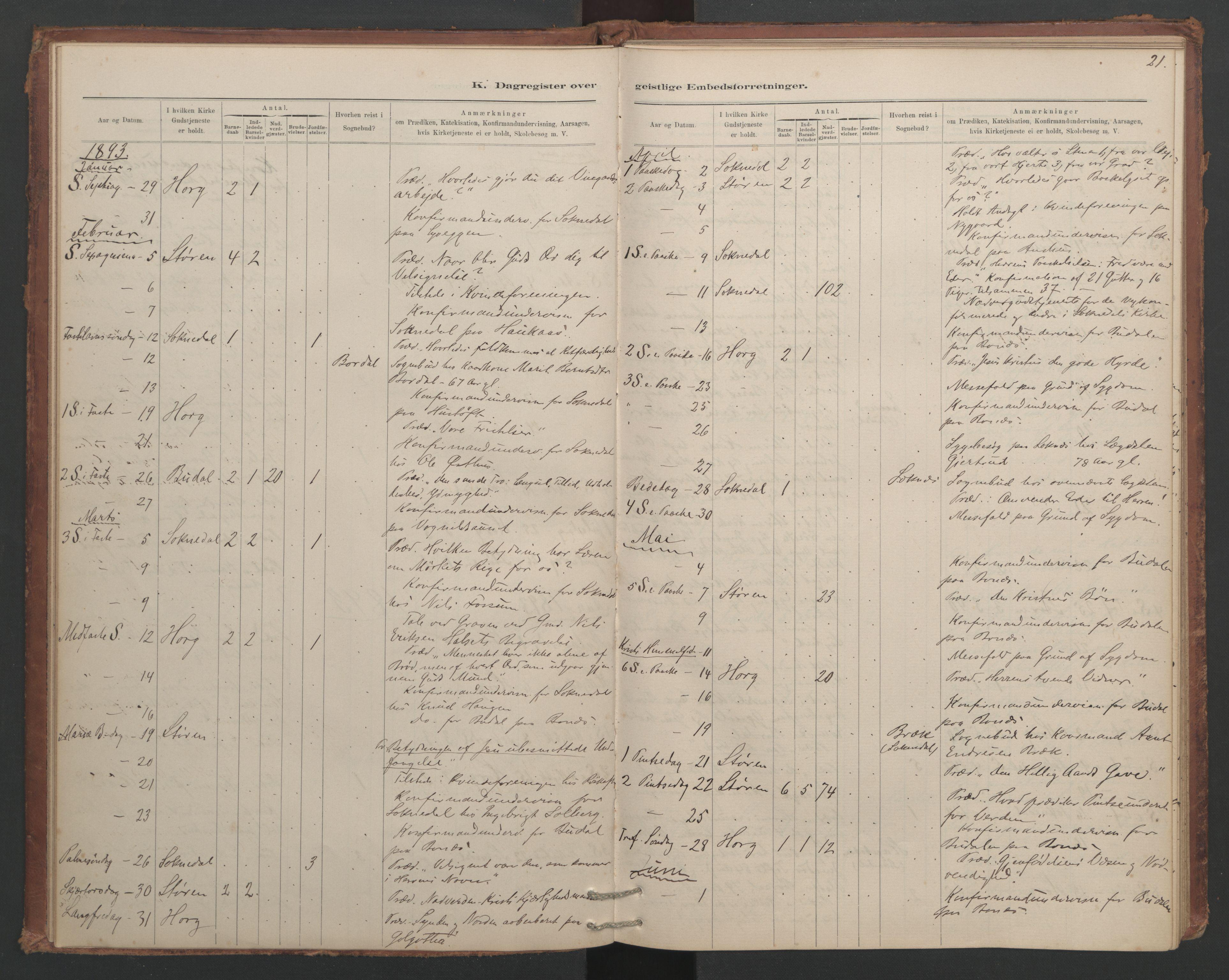 SAT, Ministerialprotokoller, klokkerbøker og fødselsregistre - Sør-Trøndelag, 687/L1012: Dagregister nr. 687B01, 1887-1914, s. 21