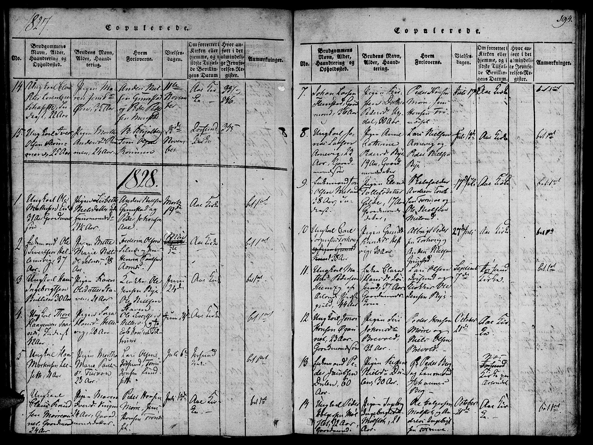 SAT, Ministerialprotokoller, klokkerbøker og fødselsregistre - Sør-Trøndelag, 655/L0675: Ministerialbok nr. 655A04, 1818-1830, s. 194