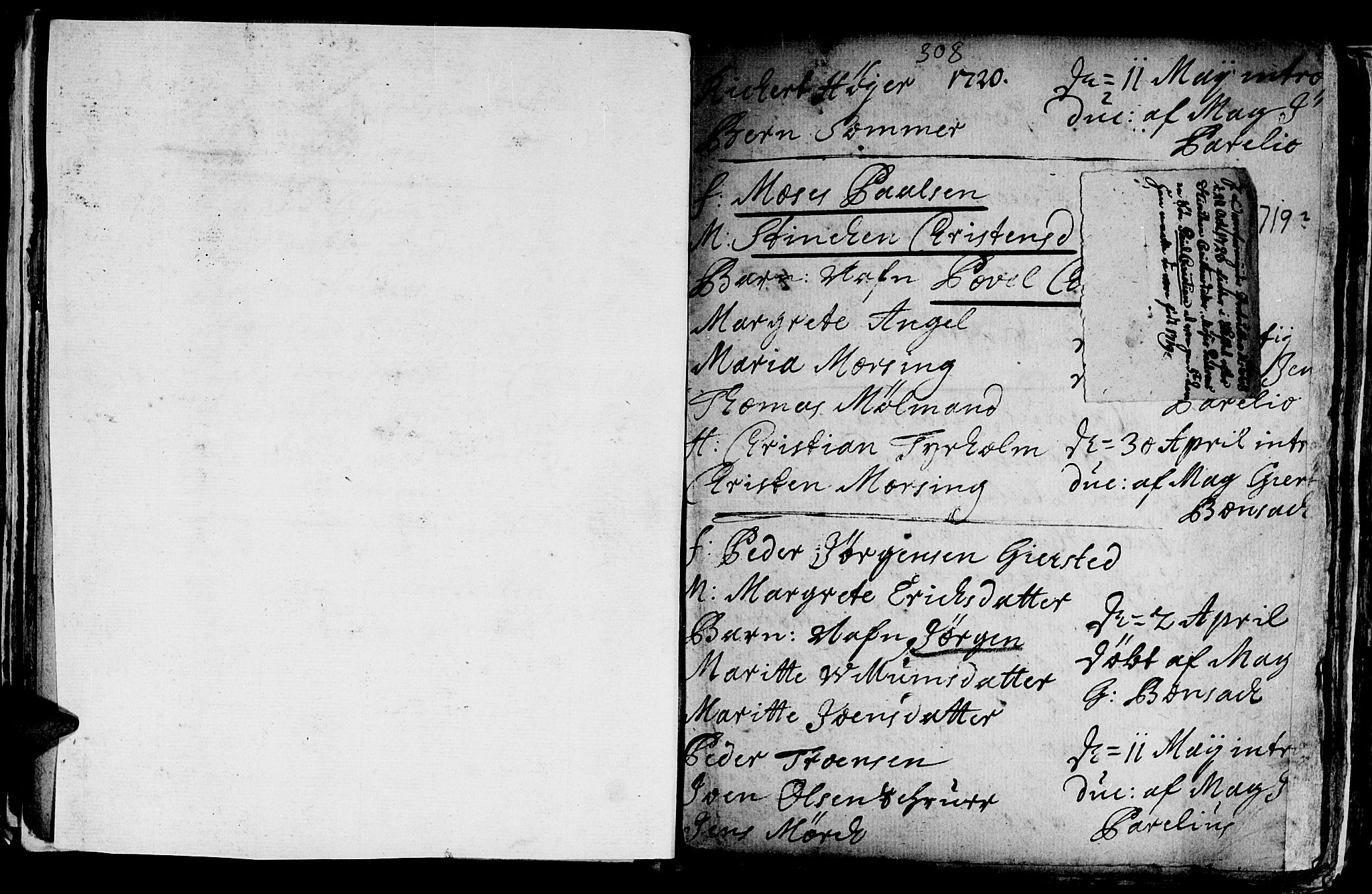 SAT, Ministerialprotokoller, klokkerbøker og fødselsregistre - Sør-Trøndelag, 601/L0035: Ministerialbok nr. 601A03, 1713-1728, s. 308