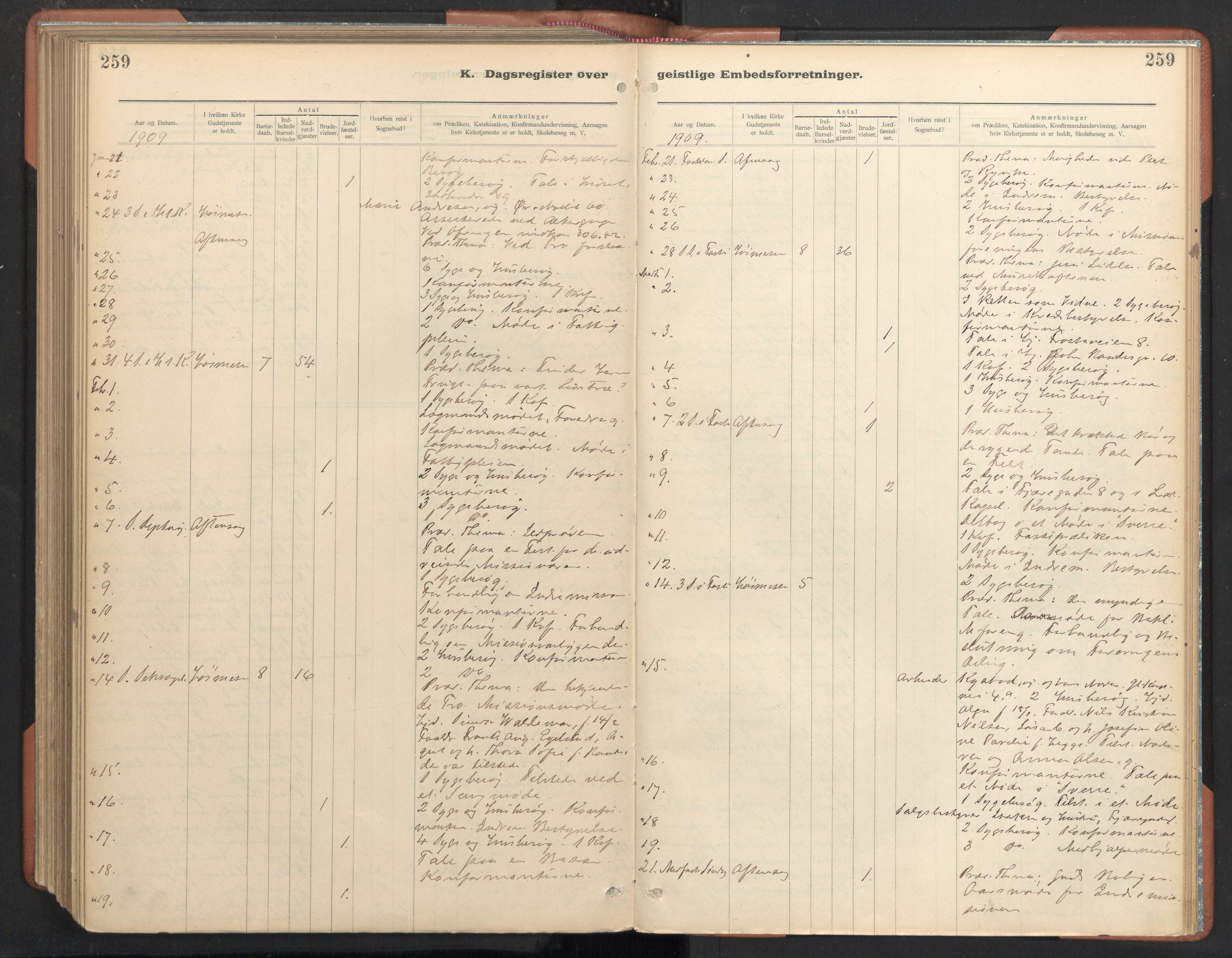 SAT, Ministerialprotokoller, klokkerbøker og fødselsregistre - Sør-Trøndelag, 605/L0244: Ministerialbok nr. 605A06, 1908-1954, s. 259