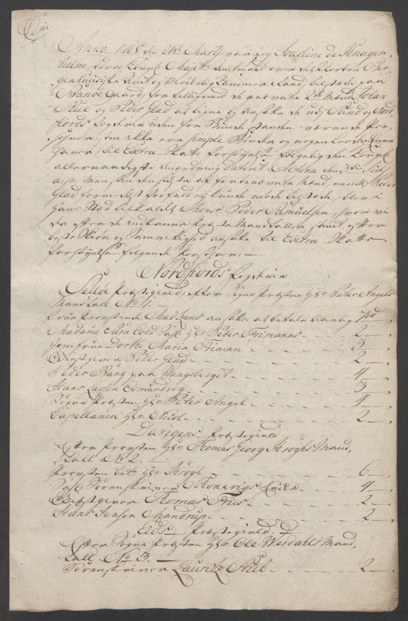 RA, Rentekammeret inntil 1814, Reviderte regnskaper, Fogderegnskap, R53/L3550: Ekstraskatten Sunn- og Nordfjord, 1762-1771, s. 232