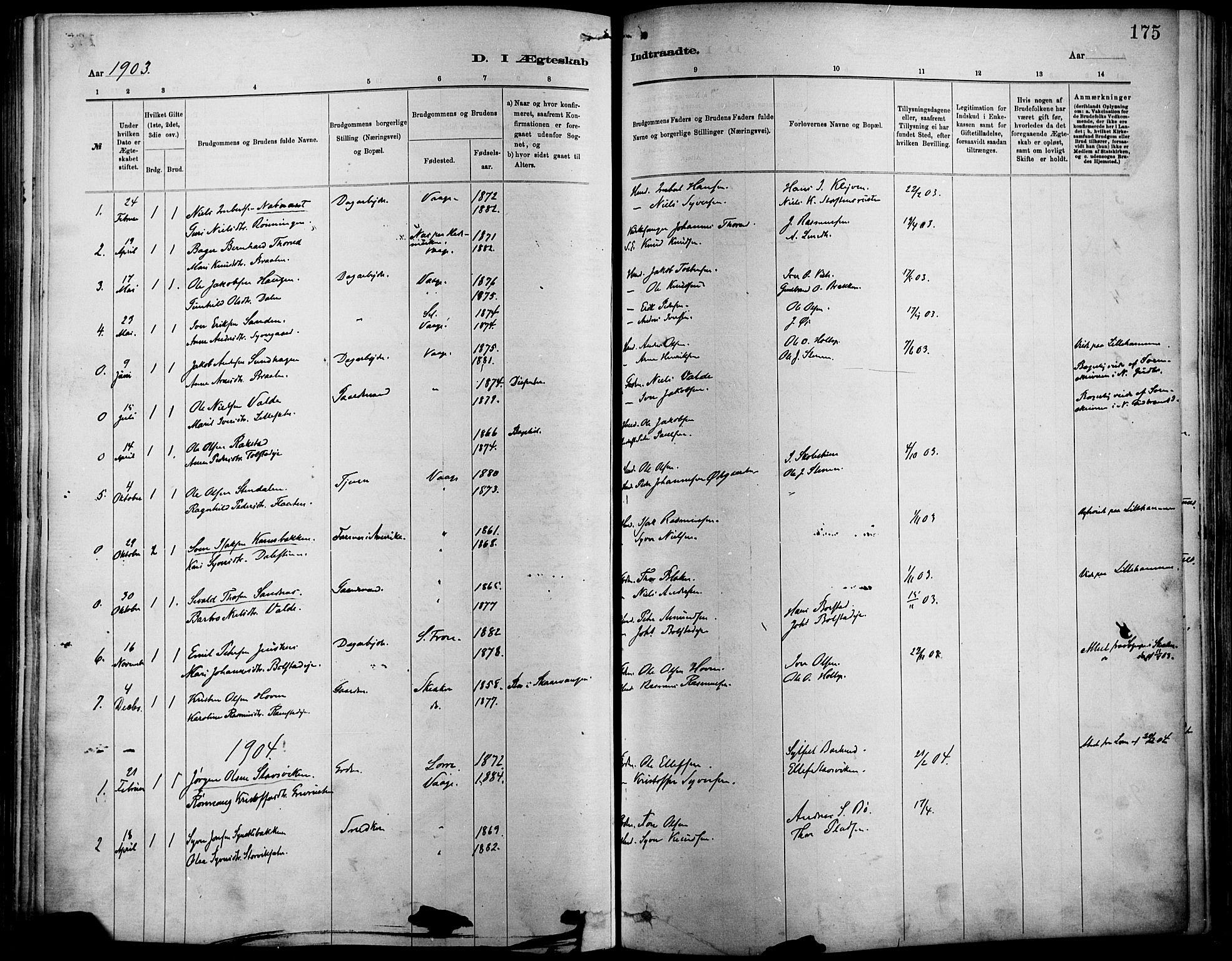 SAH, Vågå prestekontor, Ministerialbok nr. 9, 1886-1904, s. 175