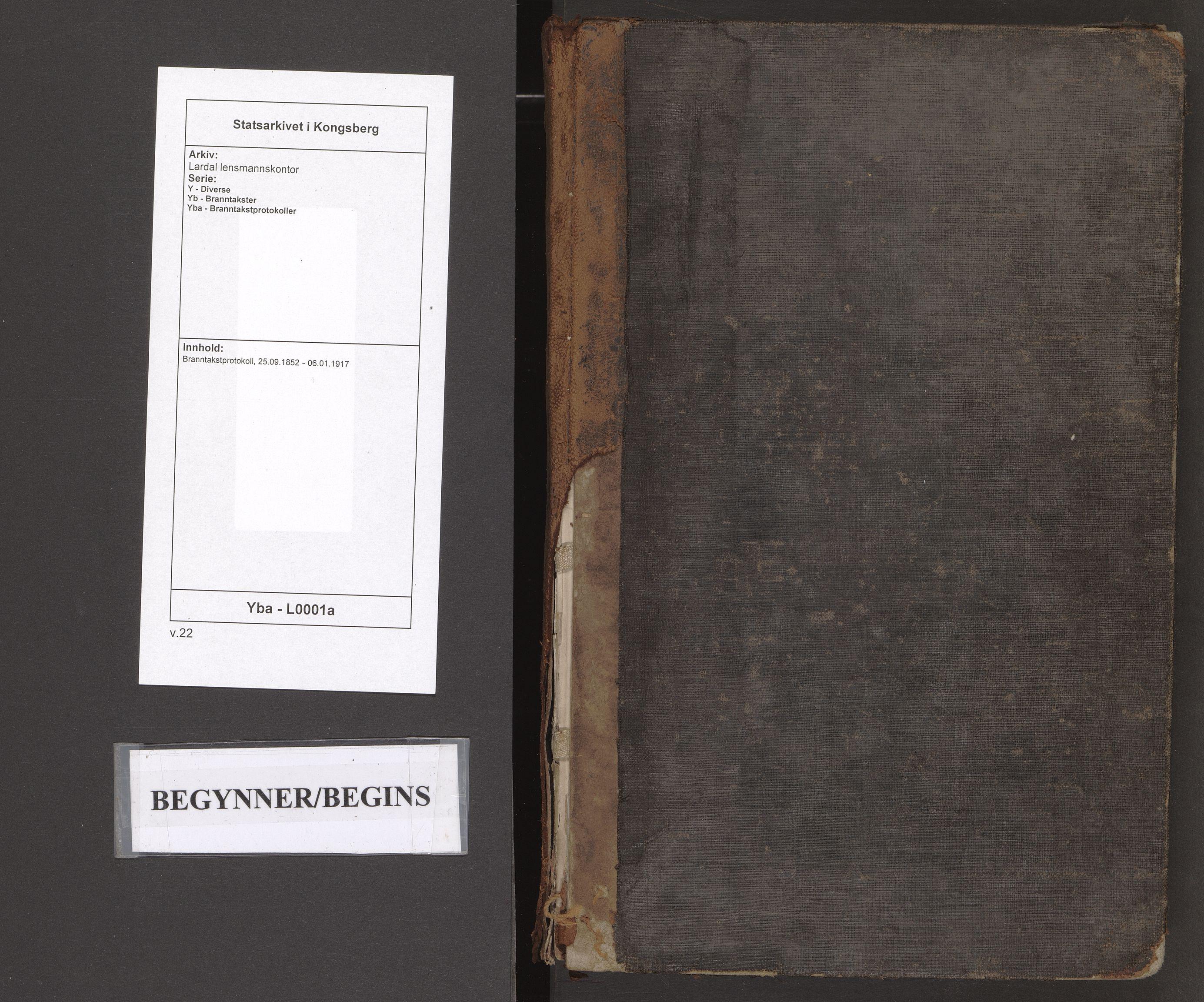 SAKO, Lardal lensmannskontor, Y/Yb/Yba/L0001a: Branntakstprotokoll, 1852-1917