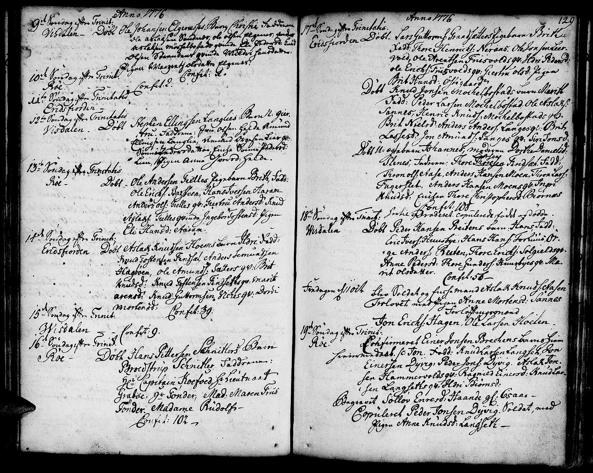 SAT, Ministerialprotokoller, klokkerbøker og fødselsregistre - Møre og Romsdal, 551/L0621: Ministerialbok nr. 551A01, 1757-1803, s. 129