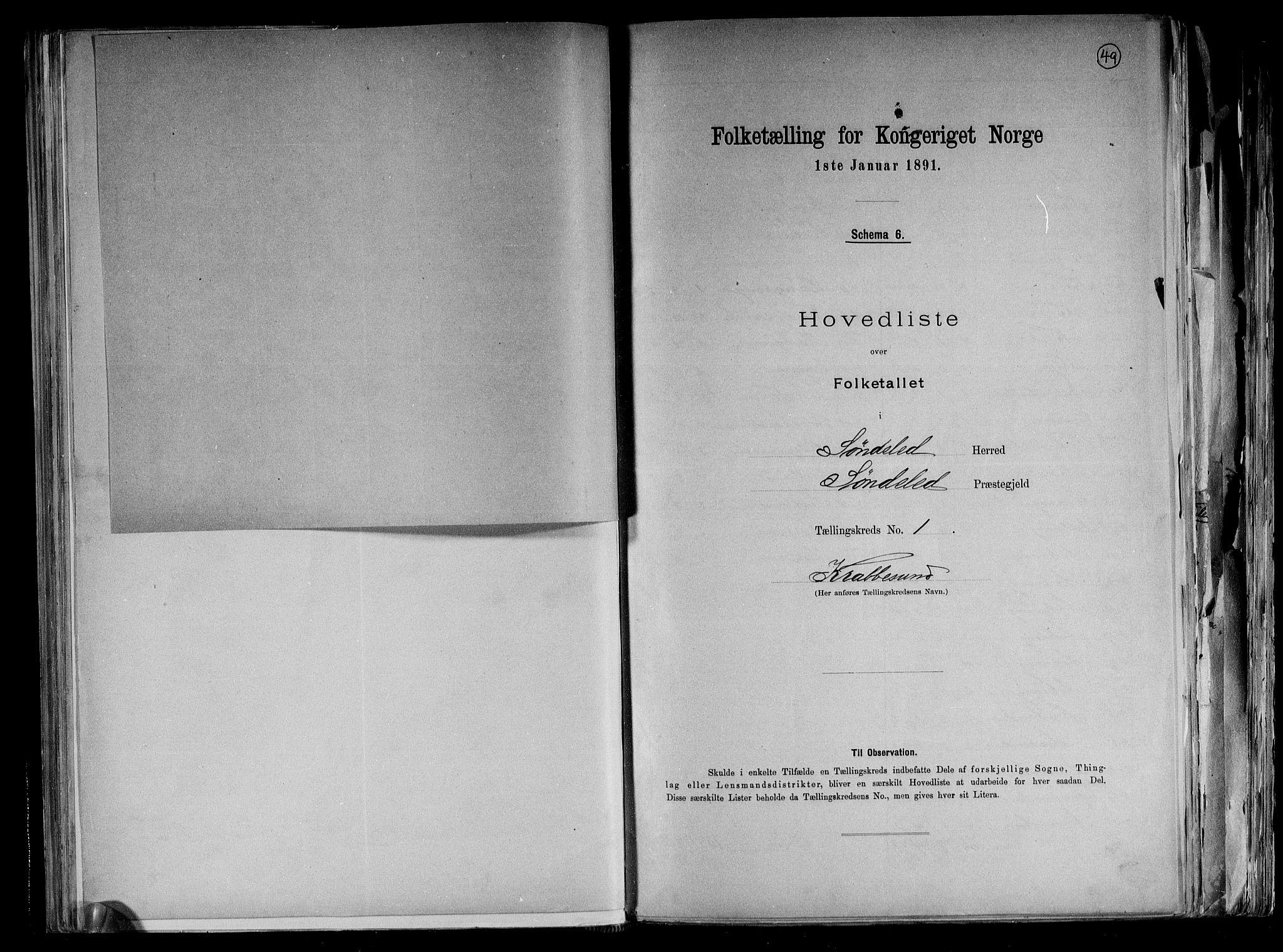 RA, Folketelling 1891 for 0913 Søndeled herred, 1891, s. 5