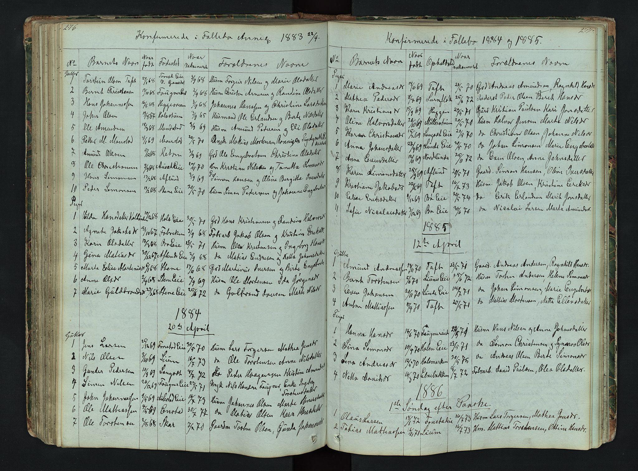 SAH, Gausdal prestekontor, Klokkerbok nr. 6, 1846-1893, s. 276-277