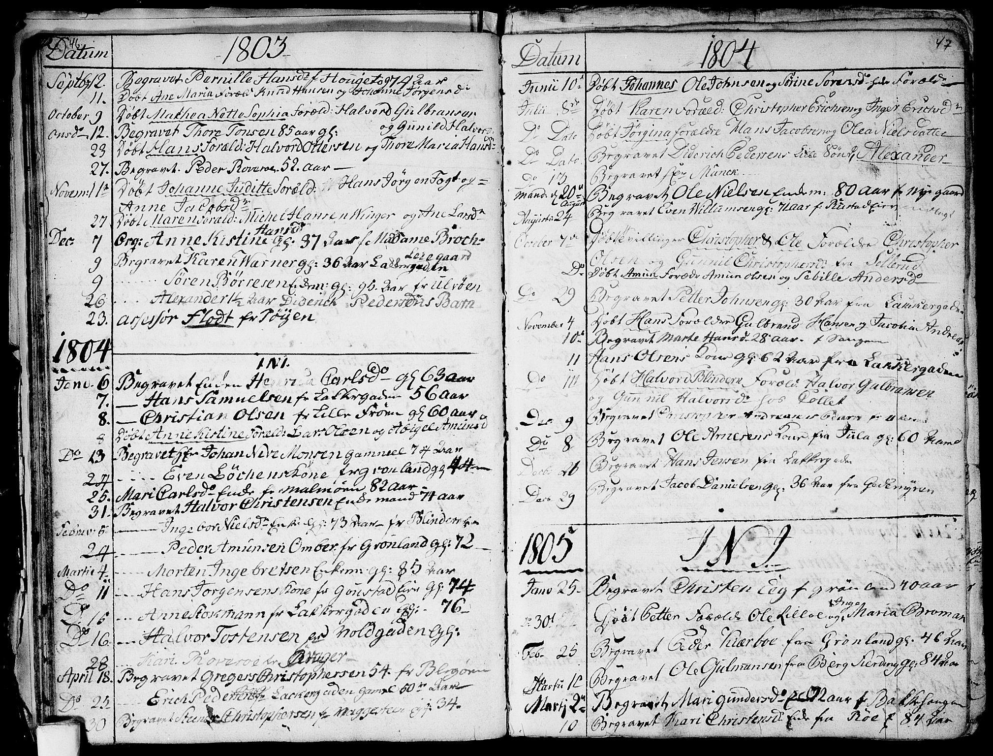 SAO, Aker prestekontor kirkebøker, G/L0001: Klokkerbok nr. 1, 1796-1826, s. 46-47