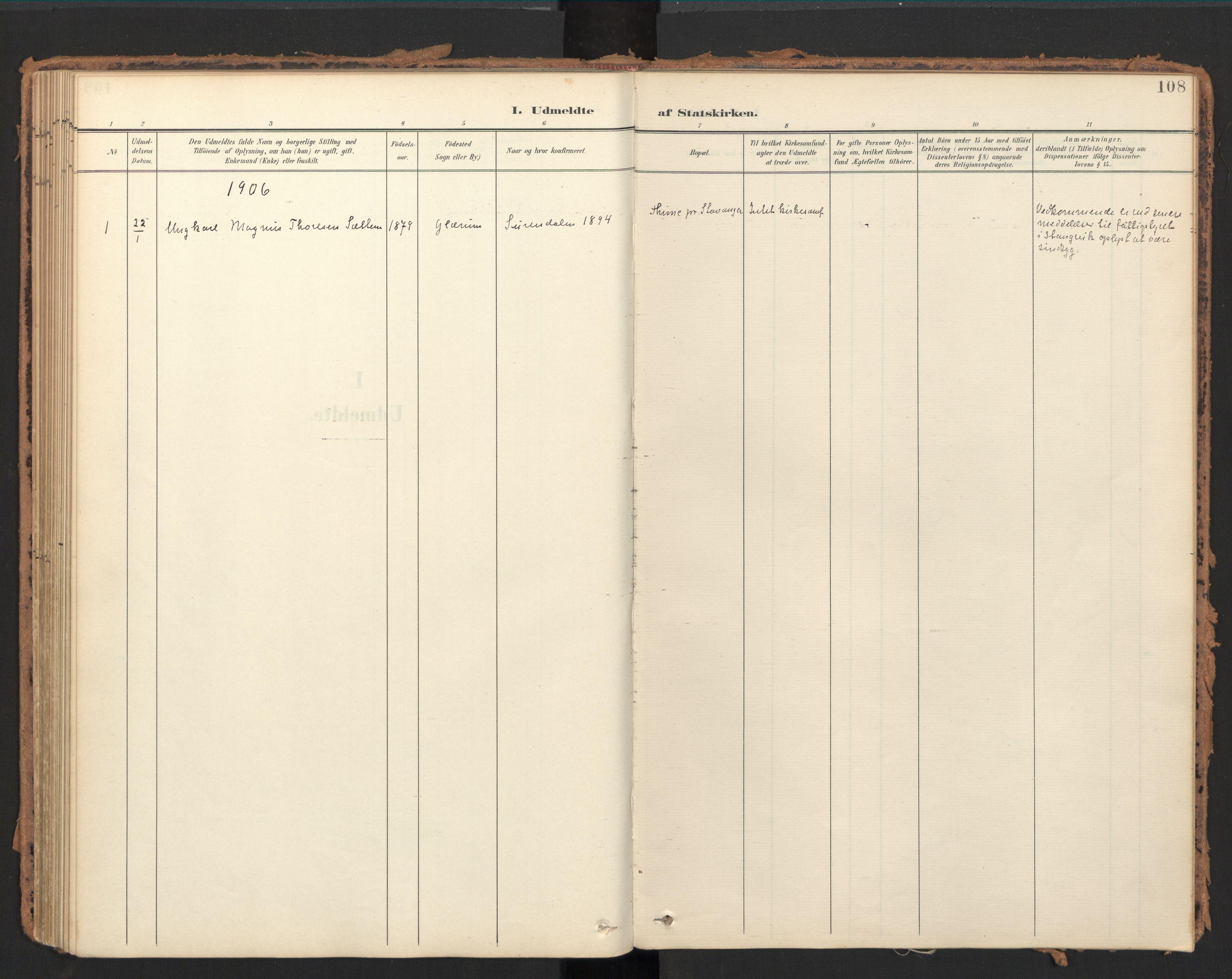 SAT, Ministerialprotokoller, klokkerbøker og fødselsregistre - Møre og Romsdal, 595/L1048: Ministerialbok nr. 595A10, 1900-1917, s. 108
