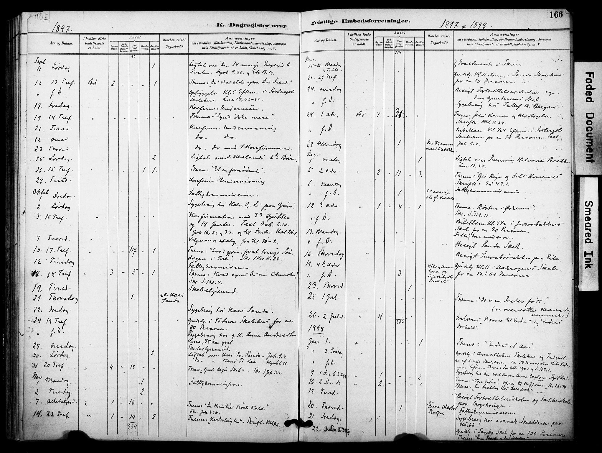 SAKO, Bø kirkebøker, F/Fa/L0011: Ministerialbok nr. 11, 1892-1900, s. 166