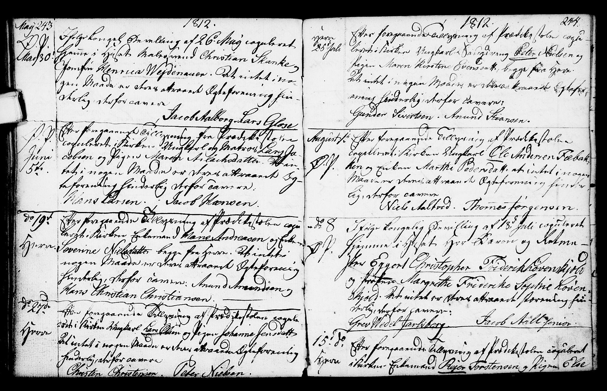 SAKO, Porsgrunn kirkebøker , F/Fa/L0003: Ministerialbok nr. 3, 1764-1814, s. 243-244