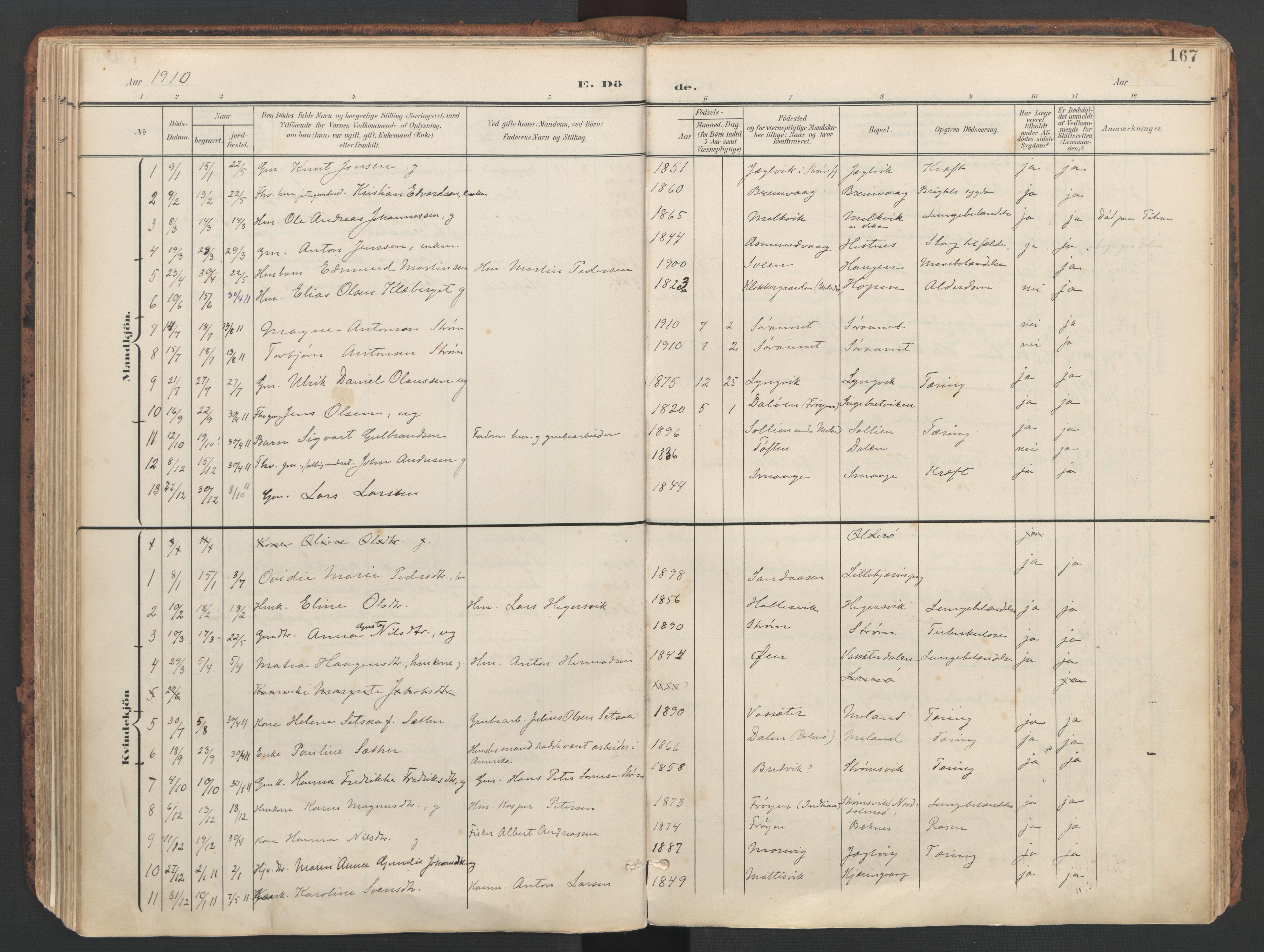 SAT, Ministerialprotokoller, klokkerbøker og fødselsregistre - Sør-Trøndelag, 634/L0537: Ministerialbok nr. 634A13, 1896-1922, s. 167