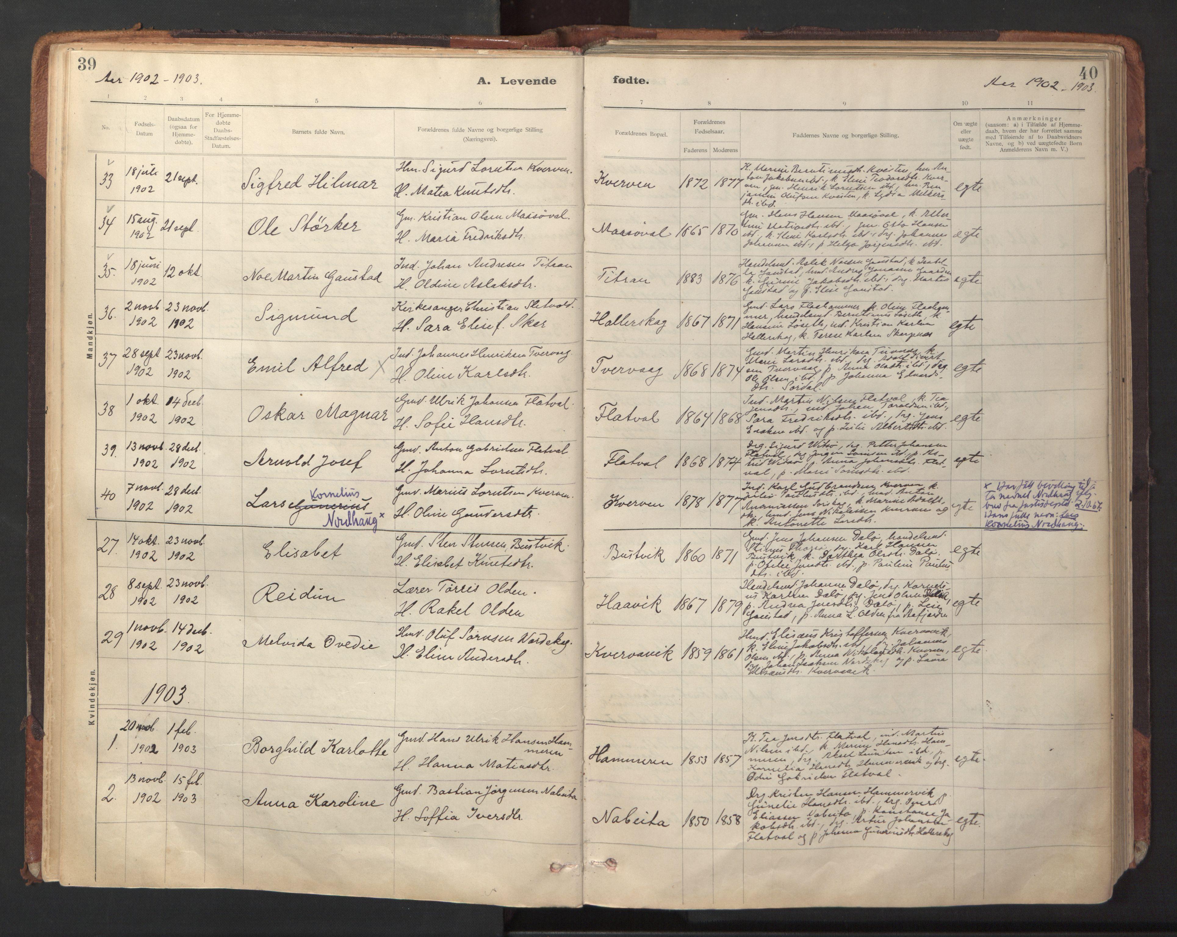 SAT, Ministerialprotokoller, klokkerbøker og fødselsregistre - Sør-Trøndelag, 641/L0596: Ministerialbok nr. 641A02, 1898-1915, s. 39-40