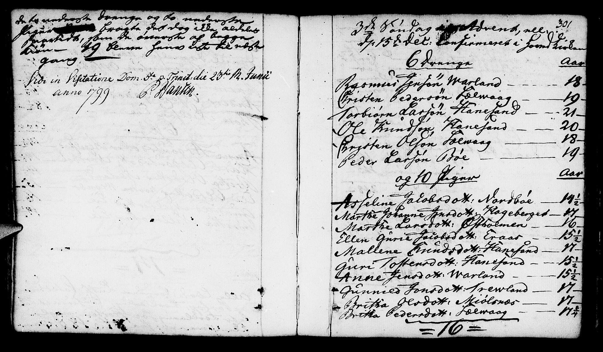SAST, Finnøy sokneprestkontor, H/Ha/Haa/L0005: Ministerialbok nr. A 5, 1773-1816, s. 301