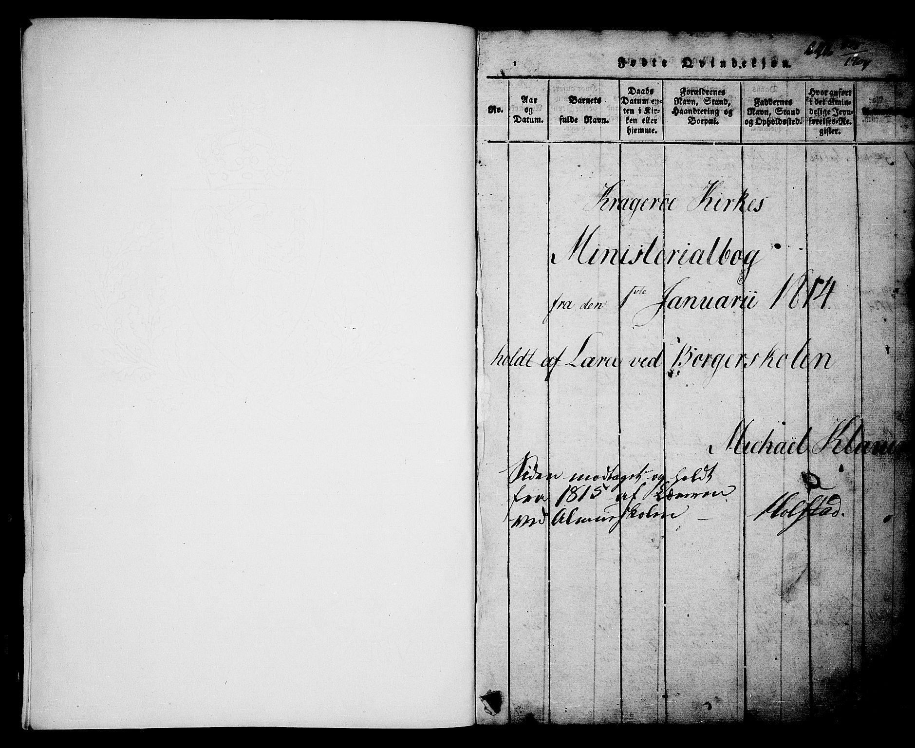 SAKO, Kragerø kirkebøker, G/Ga/L0002: Klokkerbok nr. 2, 1814-1831, s. 1