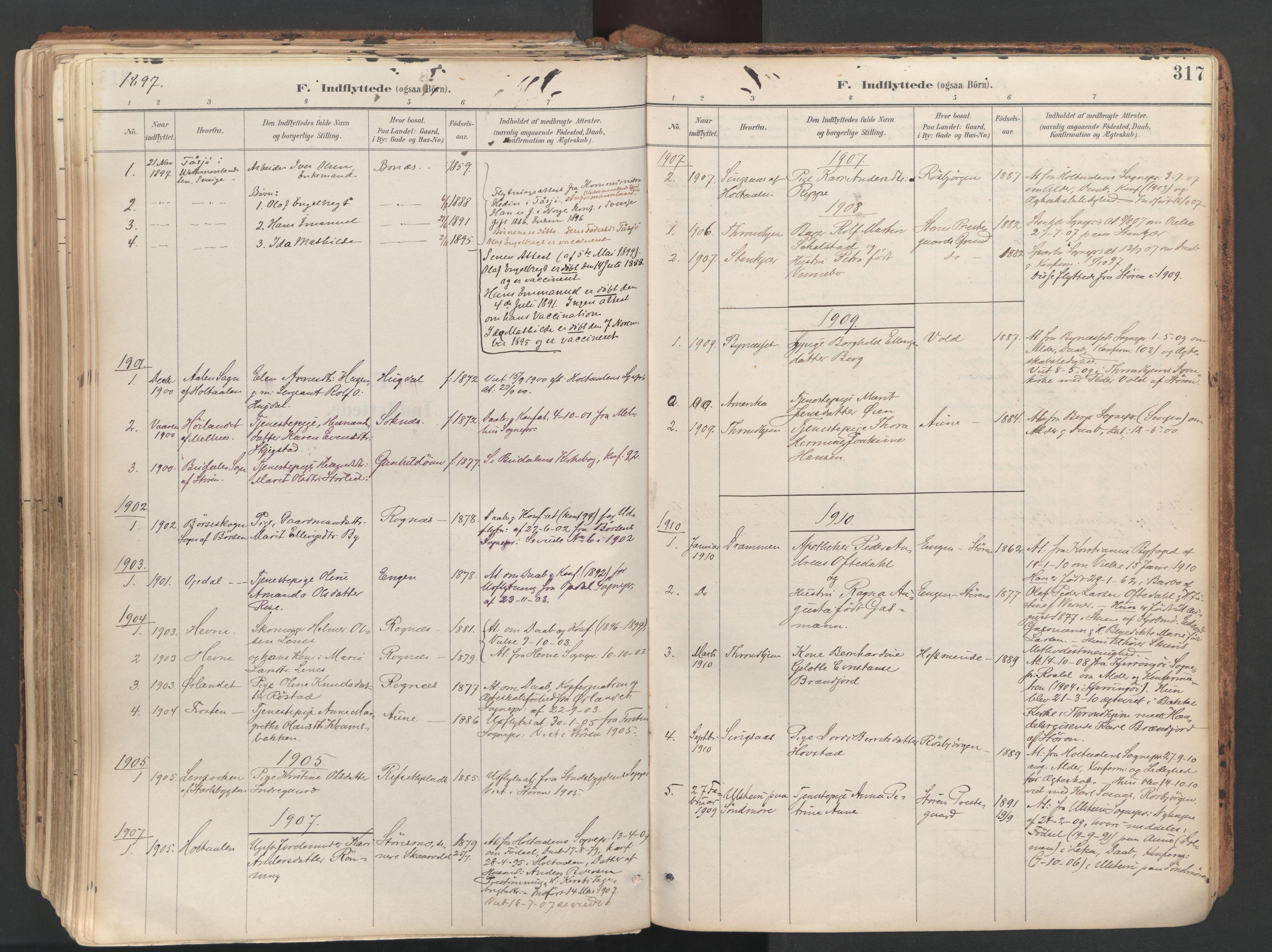 SAT, Ministerialprotokoller, klokkerbøker og fødselsregistre - Sør-Trøndelag, 687/L1004: Ministerialbok nr. 687A10, 1891-1923, s. 317