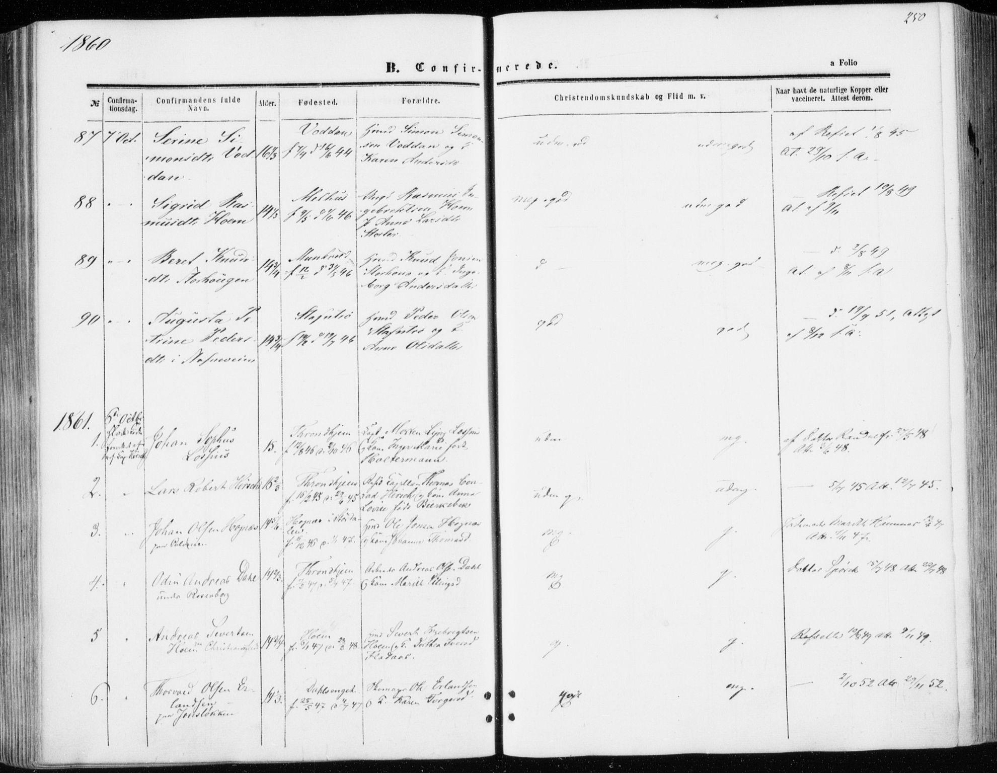 SAT, Ministerialprotokoller, klokkerbøker og fødselsregistre - Sør-Trøndelag, 606/L0292: Ministerialbok nr. 606A07, 1856-1865, s. 250