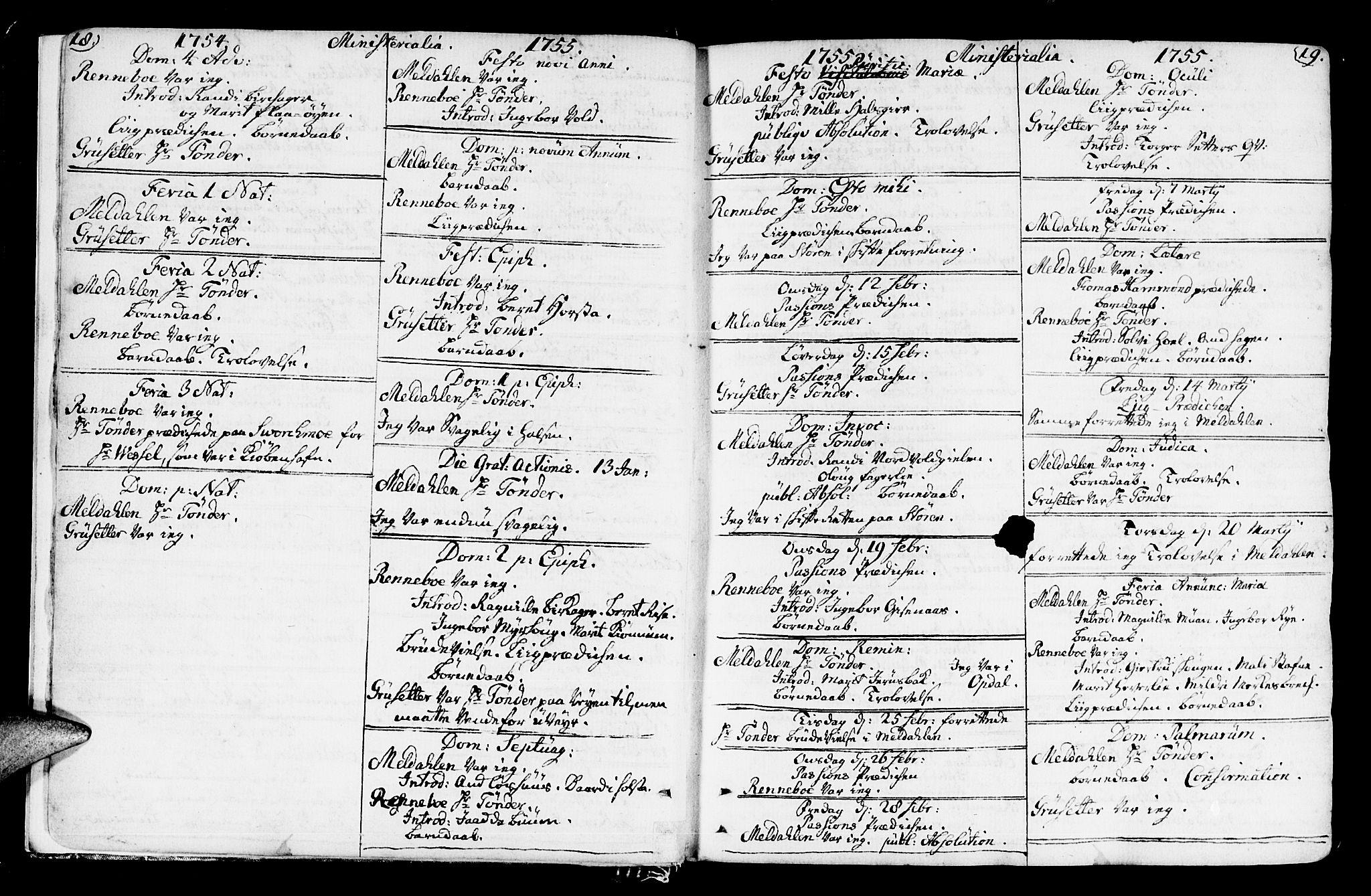 SAT, Ministerialprotokoller, klokkerbøker og fødselsregistre - Sør-Trøndelag, 672/L0851: Ministerialbok nr. 672A04, 1751-1775, s. 18-19