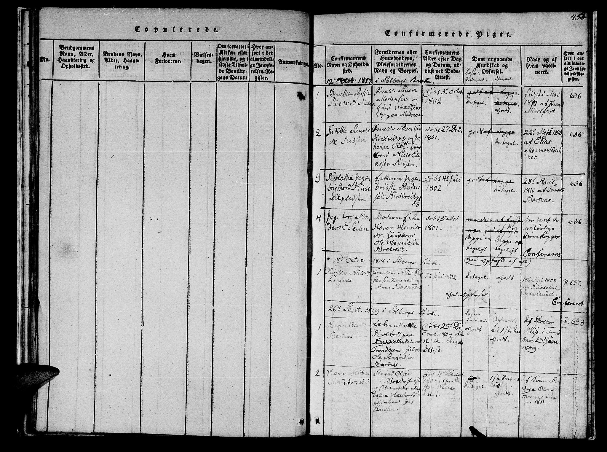 SAT, Ministerialprotokoller, klokkerbøker og fødselsregistre - Nord-Trøndelag, 745/L0433: Klokkerbok nr. 745C02, 1817-1825, s. 454-455