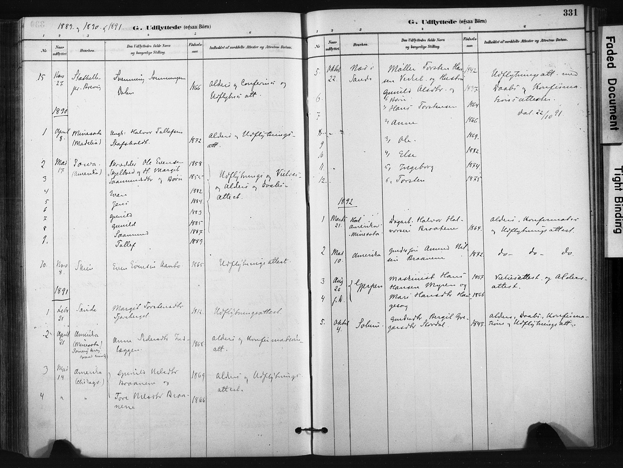 SAKO, Bø kirkebøker, F/Fa/L0010: Ministerialbok nr. 10, 1880-1892, s. 331