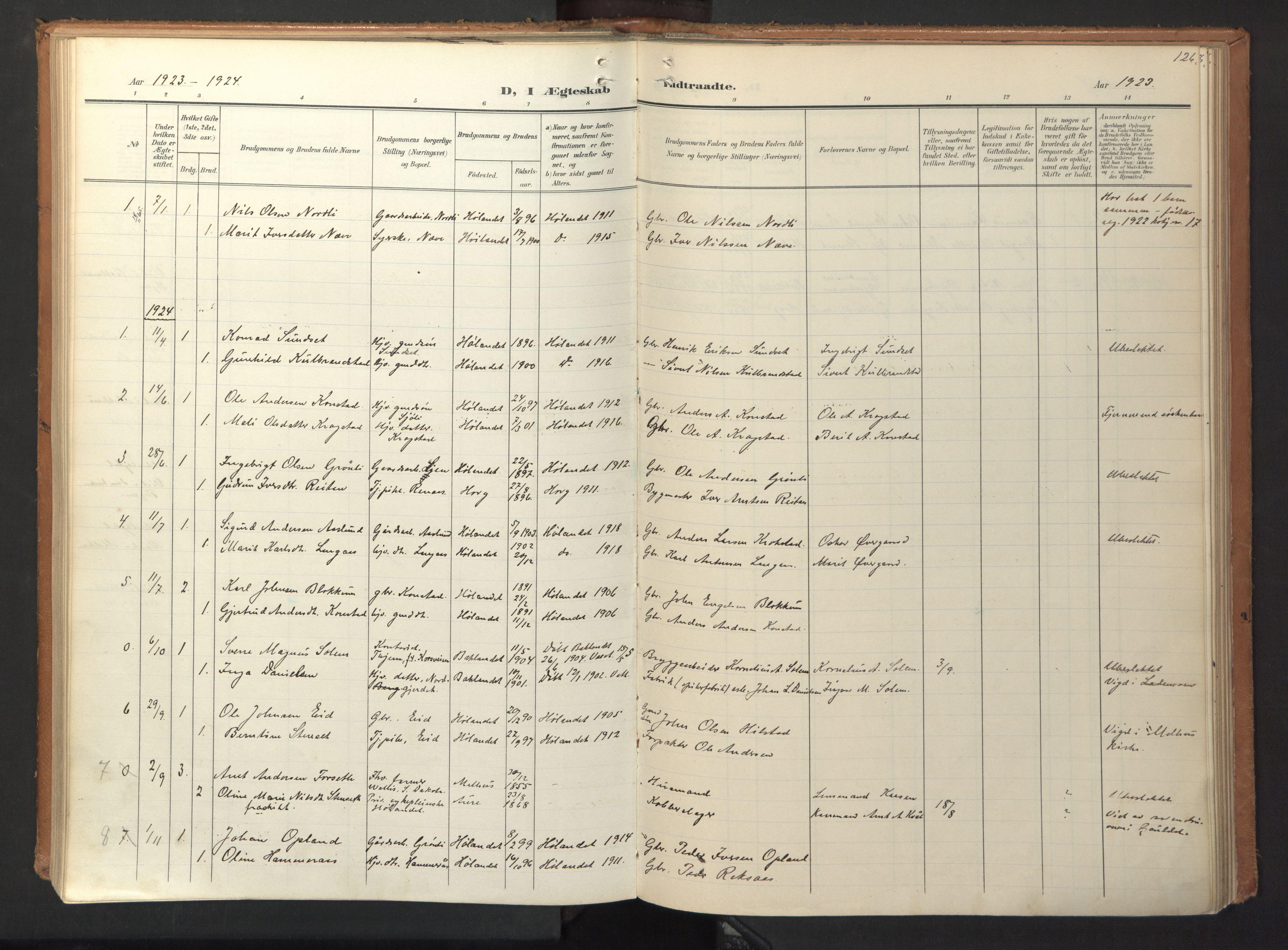 SAT, Ministerialprotokoller, klokkerbøker og fødselsregistre - Sør-Trøndelag, 694/L1128: Ministerialbok nr. 694A02, 1906-1931, s. 126