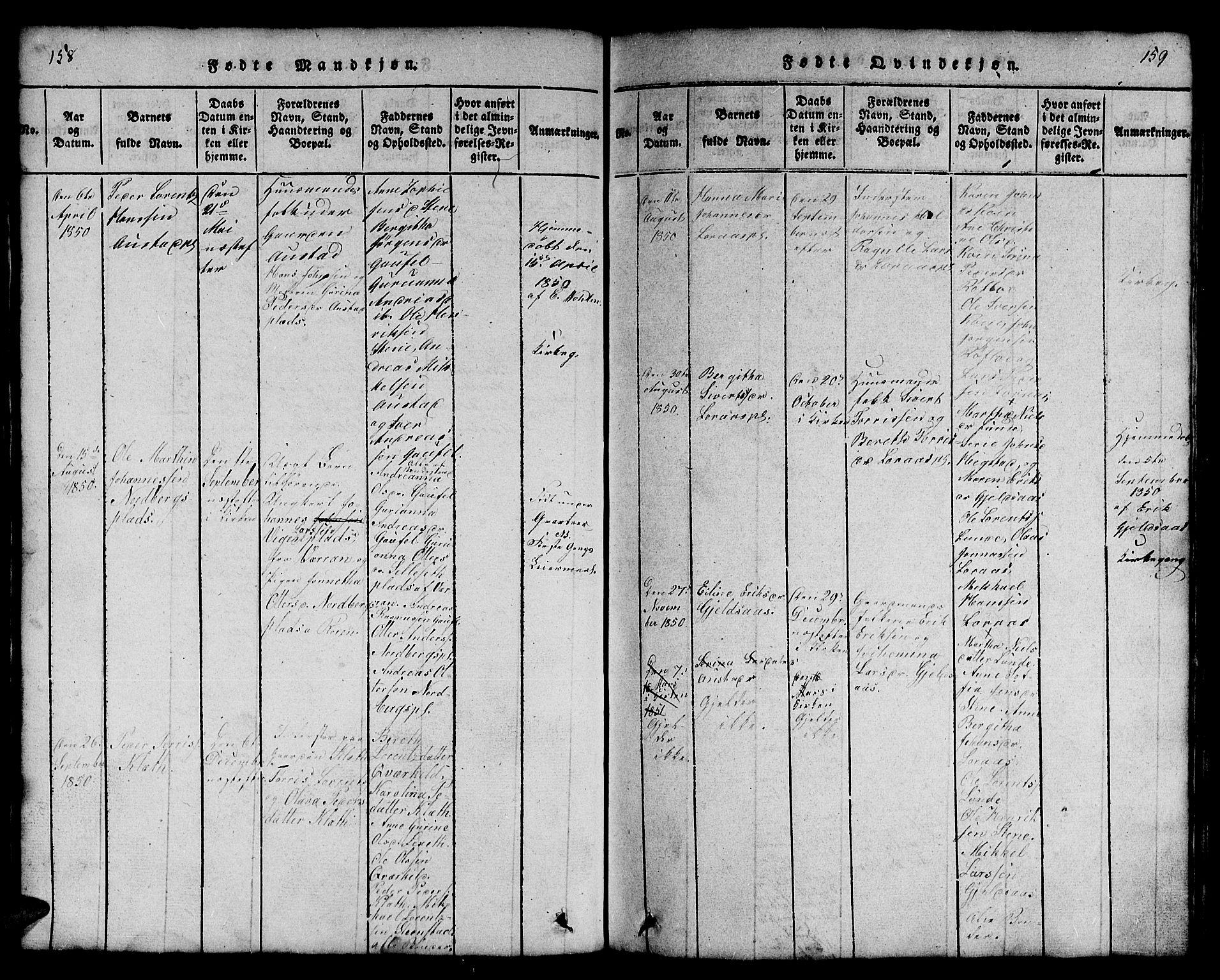 SAT, Ministerialprotokoller, klokkerbøker og fødselsregistre - Nord-Trøndelag, 731/L0310: Klokkerbok nr. 731C01, 1816-1874, s. 158-159