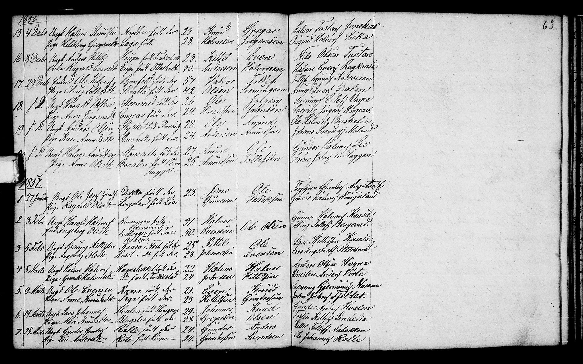 SAKO, Bø kirkebøker, G/Ga/L0002: Klokkerbok nr. 2, 1853-1866, s. 63