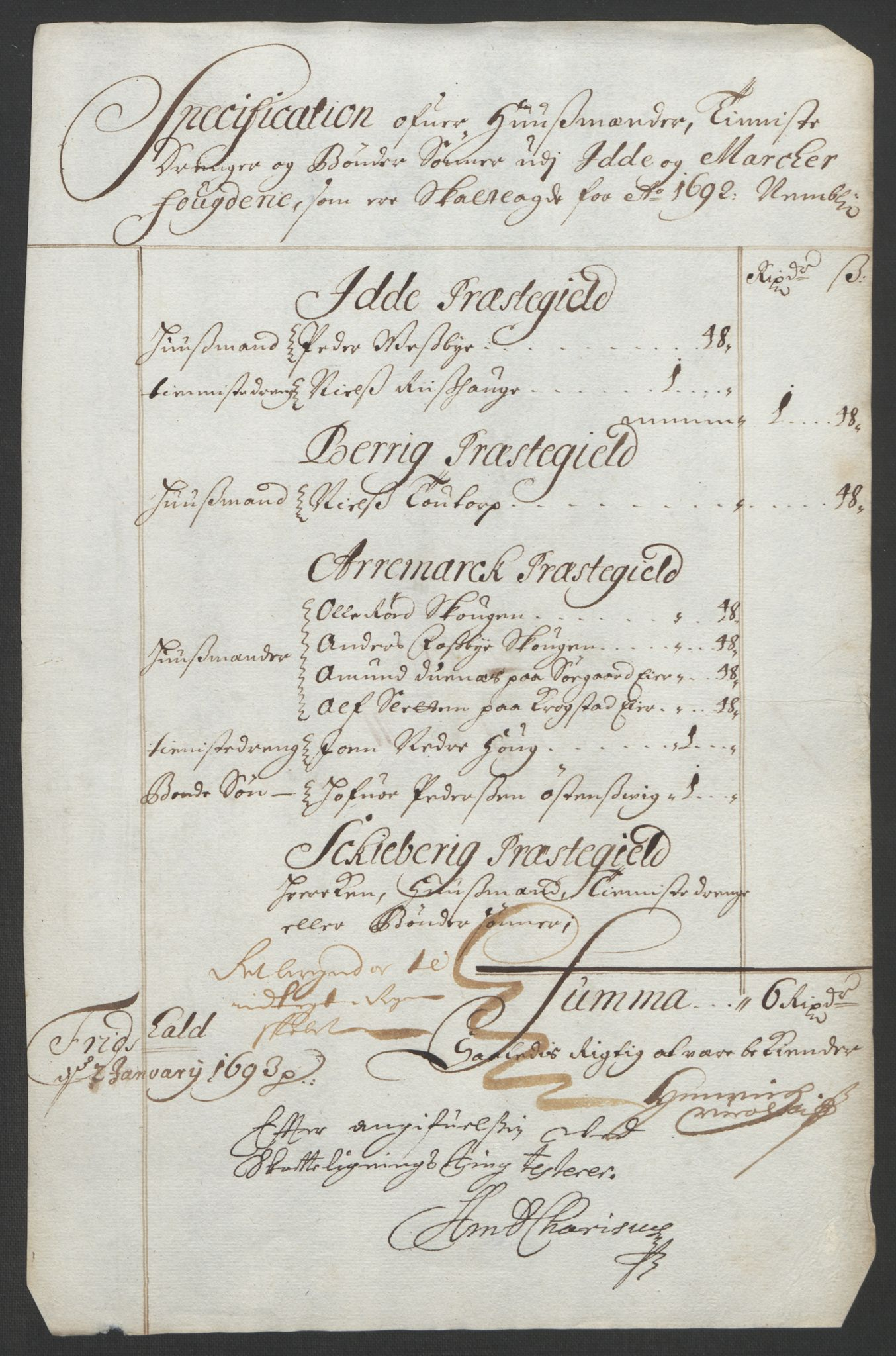RA, Rentekammeret inntil 1814, Reviderte regnskaper, Fogderegnskap, R01/L0011: Fogderegnskap Idd og Marker, 1692-1693, s. 87