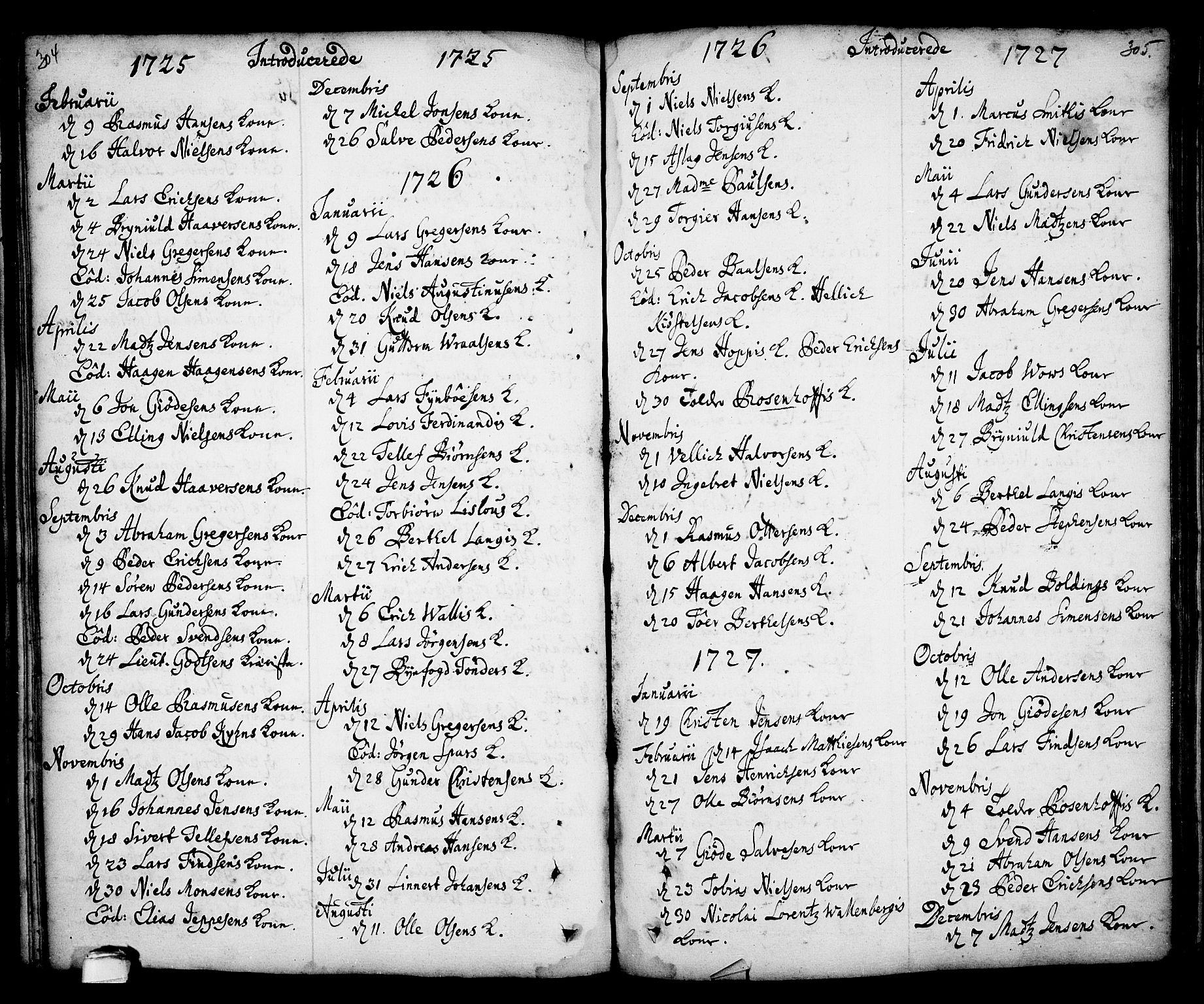 SAKO, Kragerø kirkebøker, F/Fa/L0001: Ministerialbok nr. 1, 1702-1766, s. 304-305