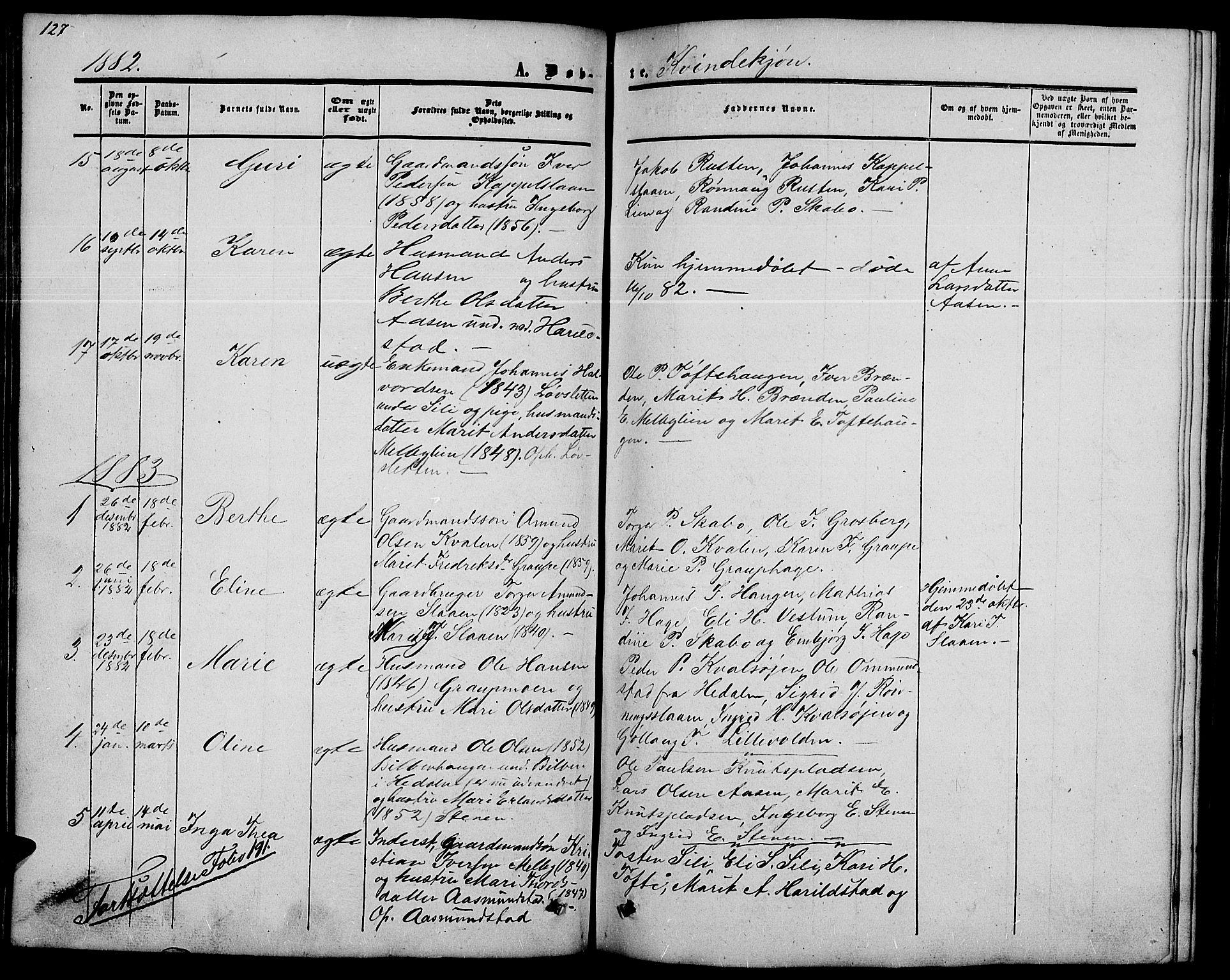 SAH, Nord-Fron prestekontor, Klokkerbok nr. 2, 1851-1883, s. 128
