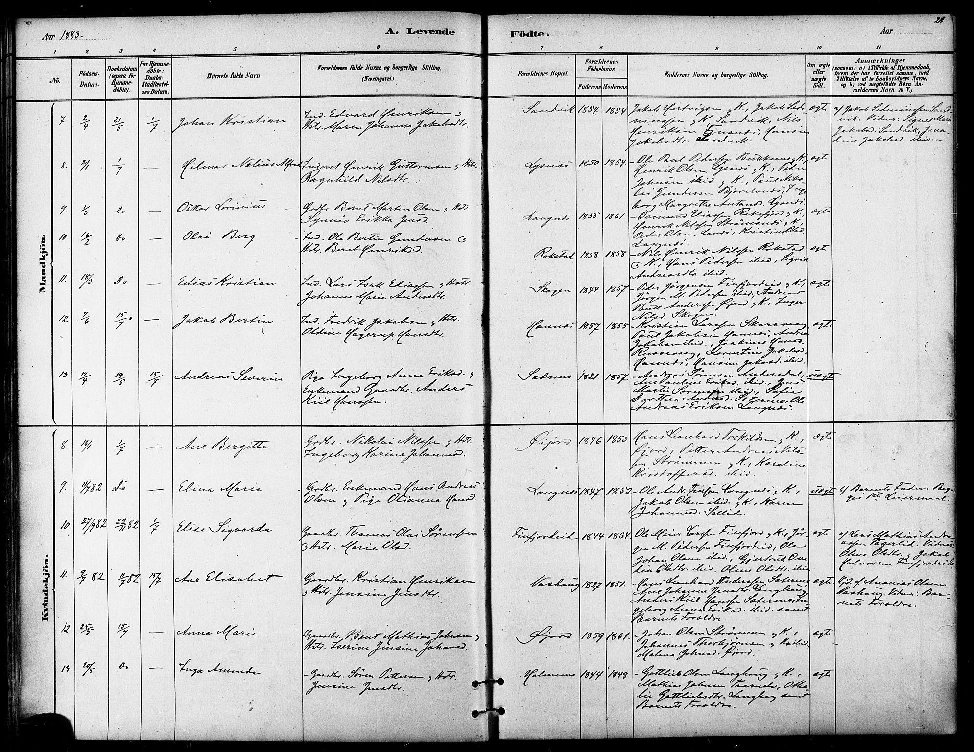 SATØ, Lenvik sokneprestembete, H/Ha/Haa/L0011kirke: Ministerialbok nr. 11, 1880-1889, s. 24