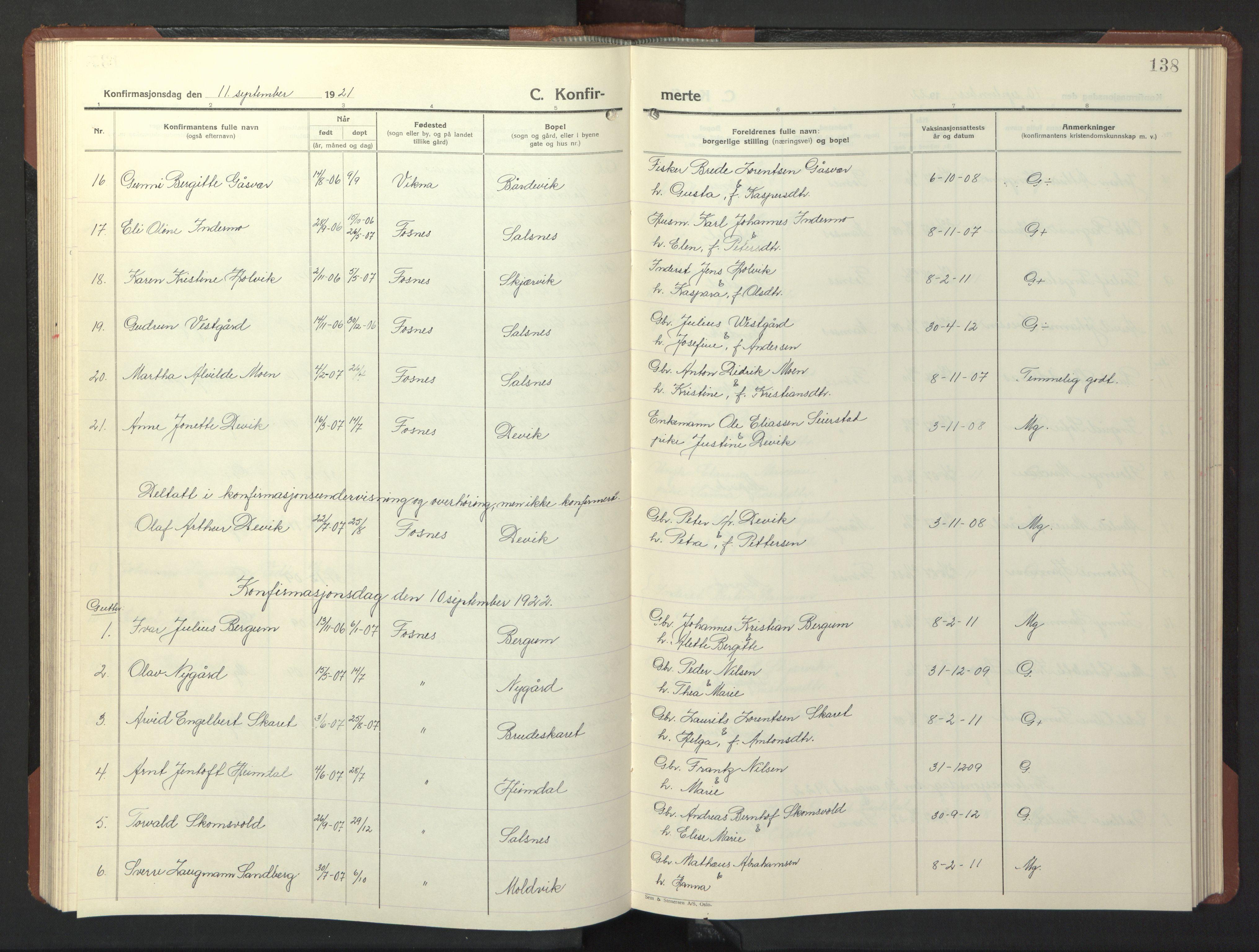 SAT, Ministerialprotokoller, klokkerbøker og fødselsregistre - Nord-Trøndelag, 773/L0625: Klokkerbok nr. 773C01, 1910-1952, s. 138