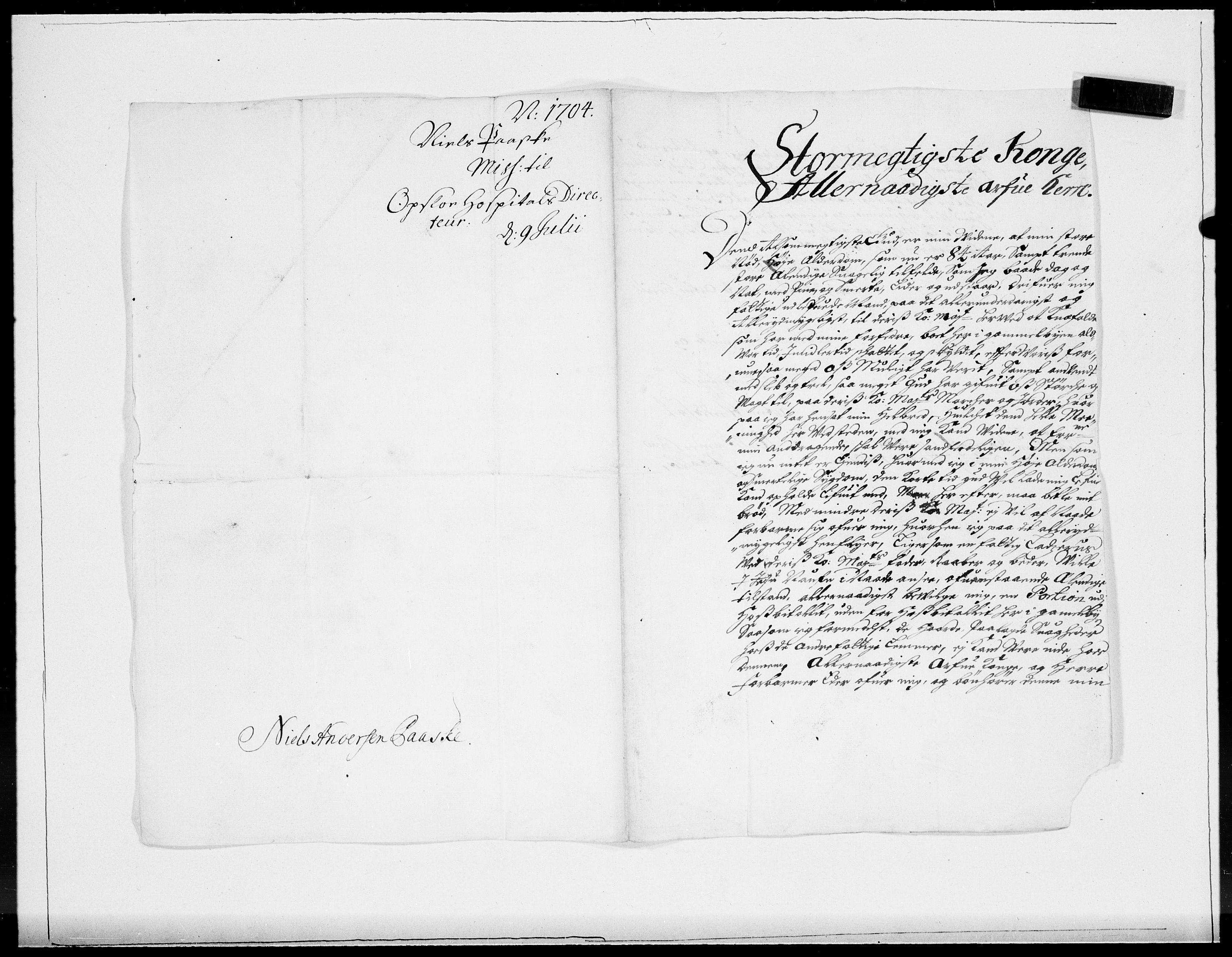 RA, Danske Kanselli 1572-1799, F/Fc/Fcc/Fcca/L0057: Norske innlegg 1572-1799, 1704, s. 110