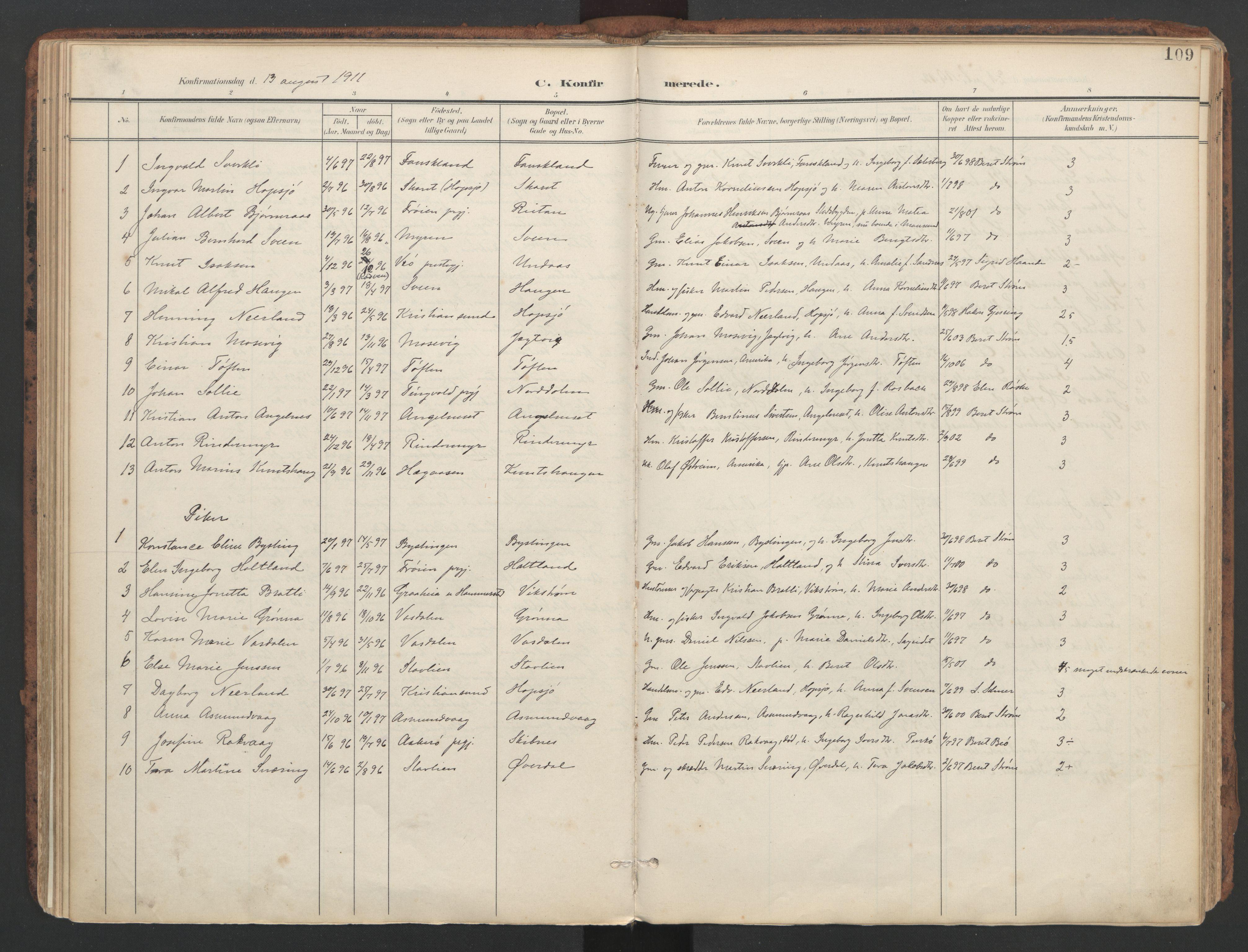 SAT, Ministerialprotokoller, klokkerbøker og fødselsregistre - Sør-Trøndelag, 634/L0537: Ministerialbok nr. 634A13, 1896-1922, s. 109