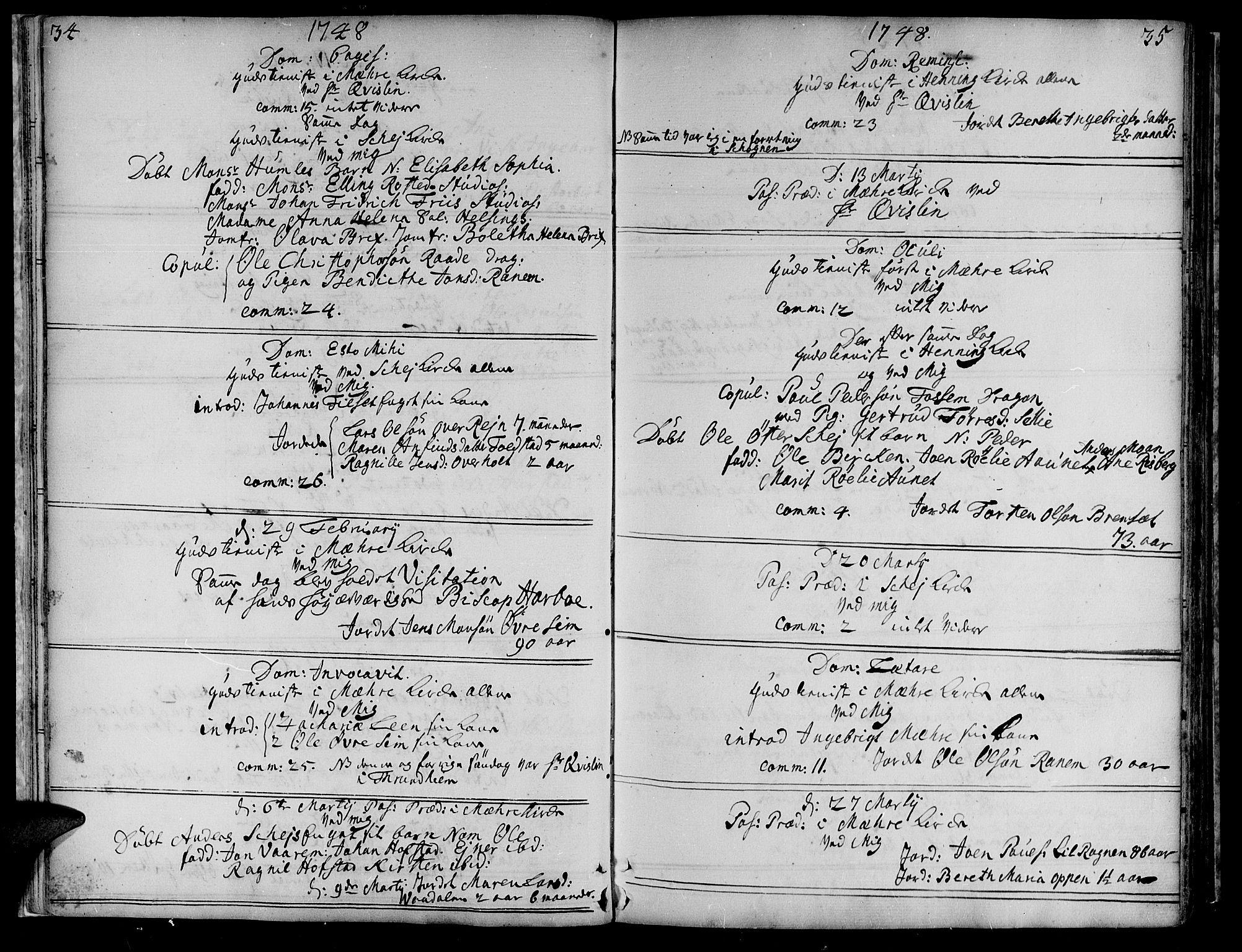 SAT, Ministerialprotokoller, klokkerbøker og fødselsregistre - Nord-Trøndelag, 735/L0330: Ministerialbok nr. 735A01, 1740-1766, s. 34-35