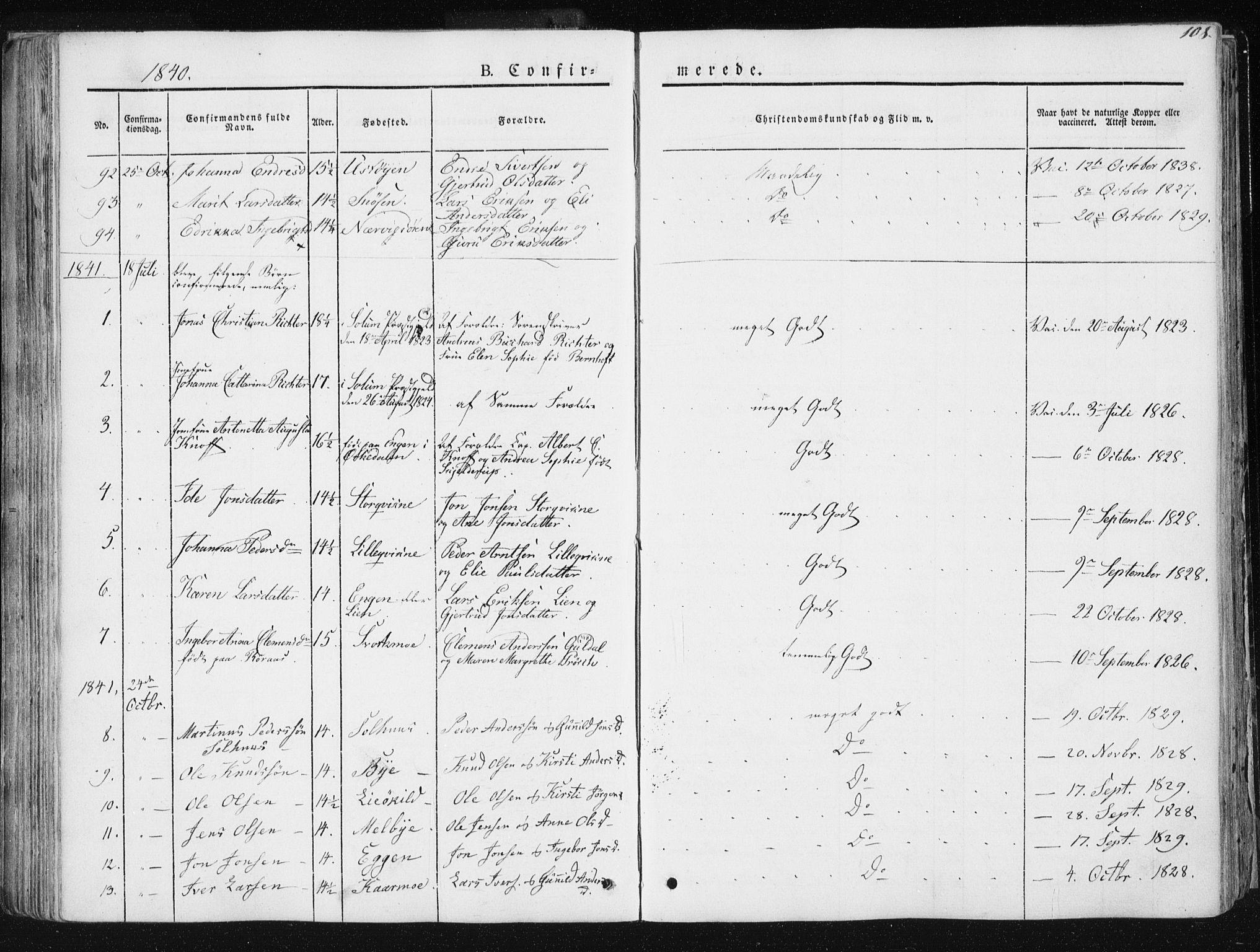 SAT, Ministerialprotokoller, klokkerbøker og fødselsregistre - Sør-Trøndelag, 668/L0805: Ministerialbok nr. 668A05, 1840-1853, s. 108