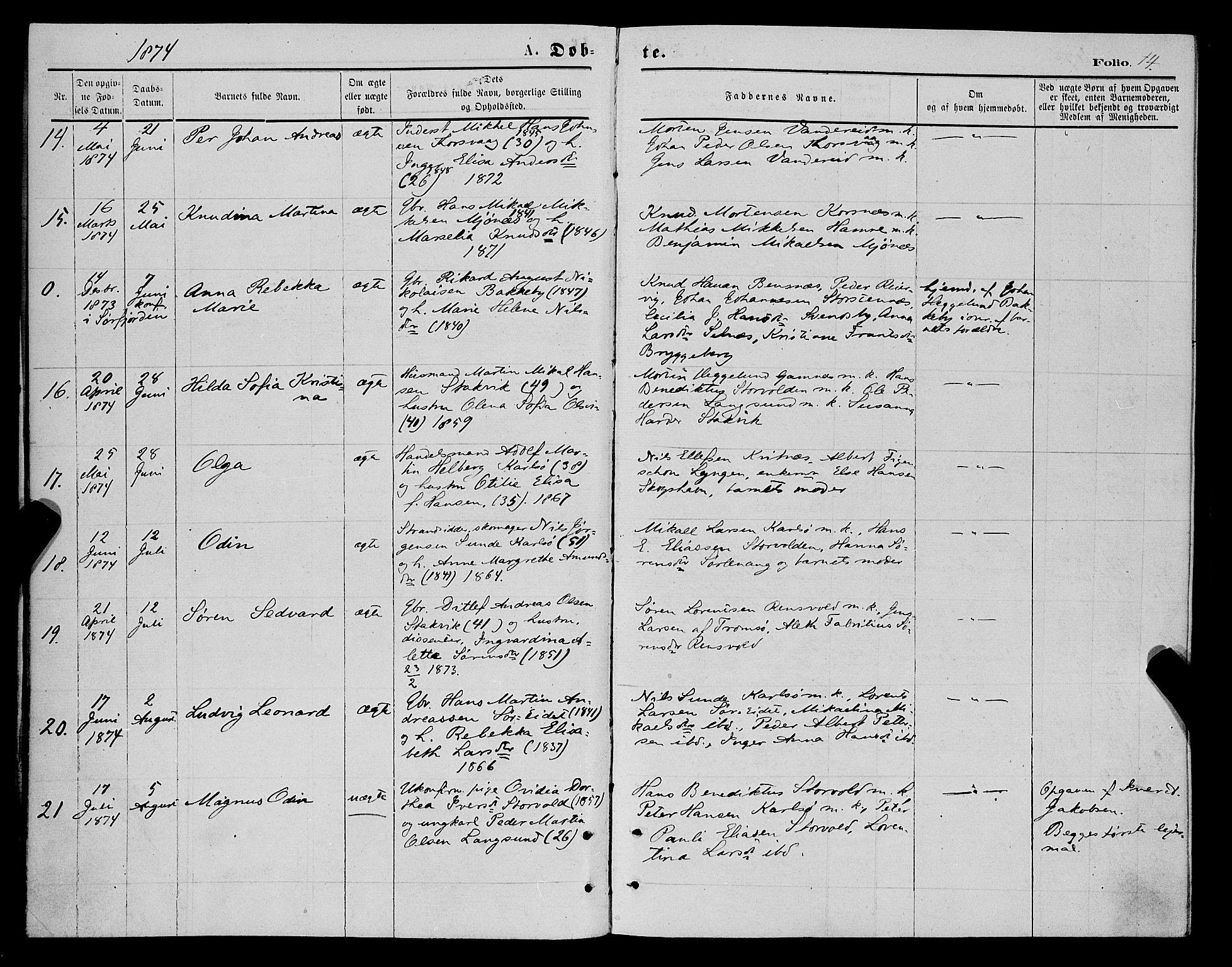 SATØ, Karlsøy sokneprestembete, H/Ha/Haa/L0005kirke: Ministerialbok nr. 5, 1872-1878, s. 14