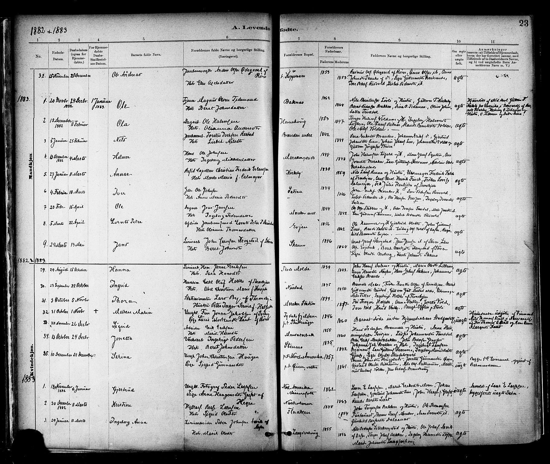 SAT, Ministerialprotokoller, klokkerbøker og fødselsregistre - Nord-Trøndelag, 706/L0047: Ministerialbok nr. 706A03, 1878-1892, s. 23