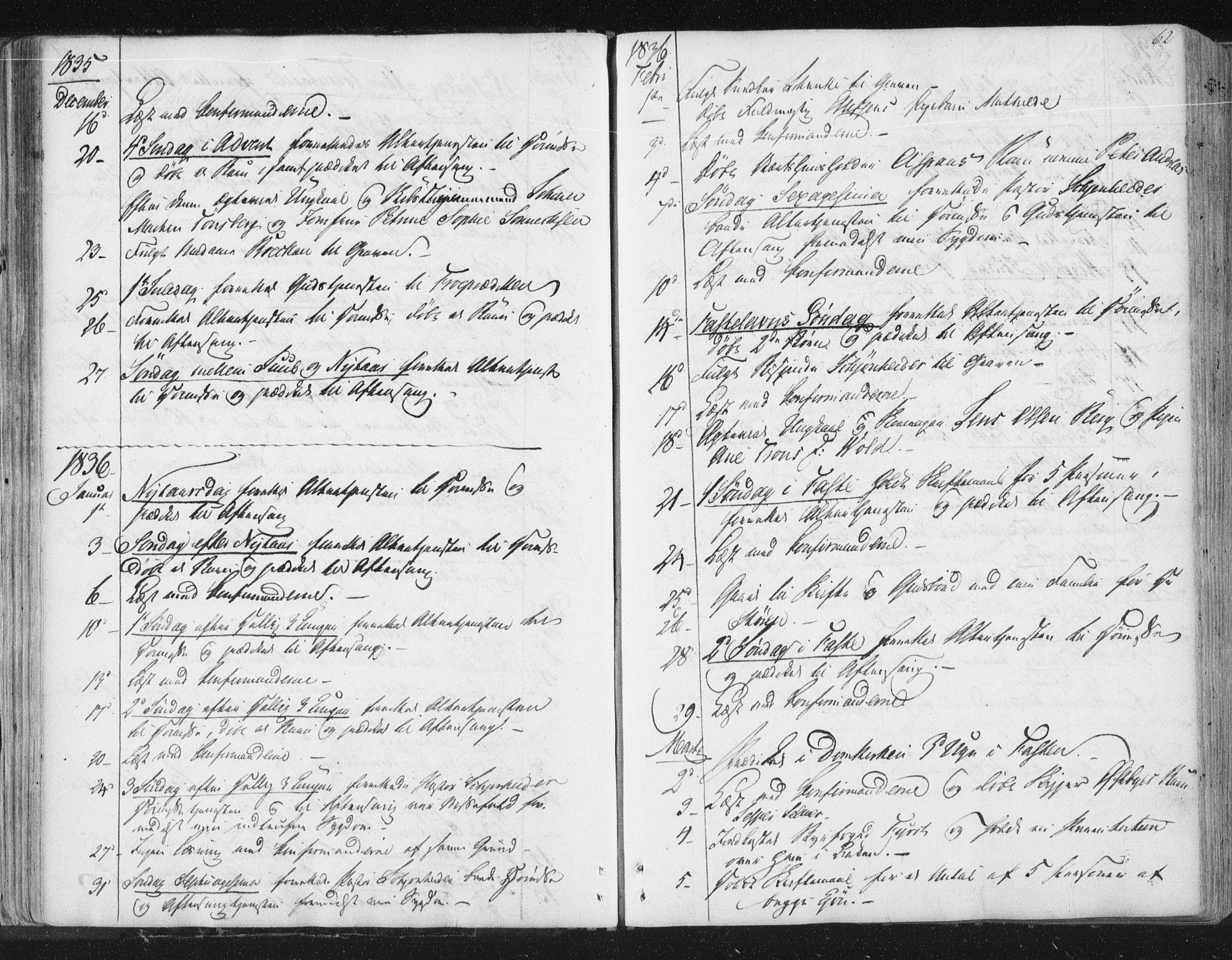 SAT, Ministerialprotokoller, klokkerbøker og fødselsregistre - Sør-Trøndelag, 602/L0127: Residerende kapellans bok nr. 602B01, 1821-1875, s. 62