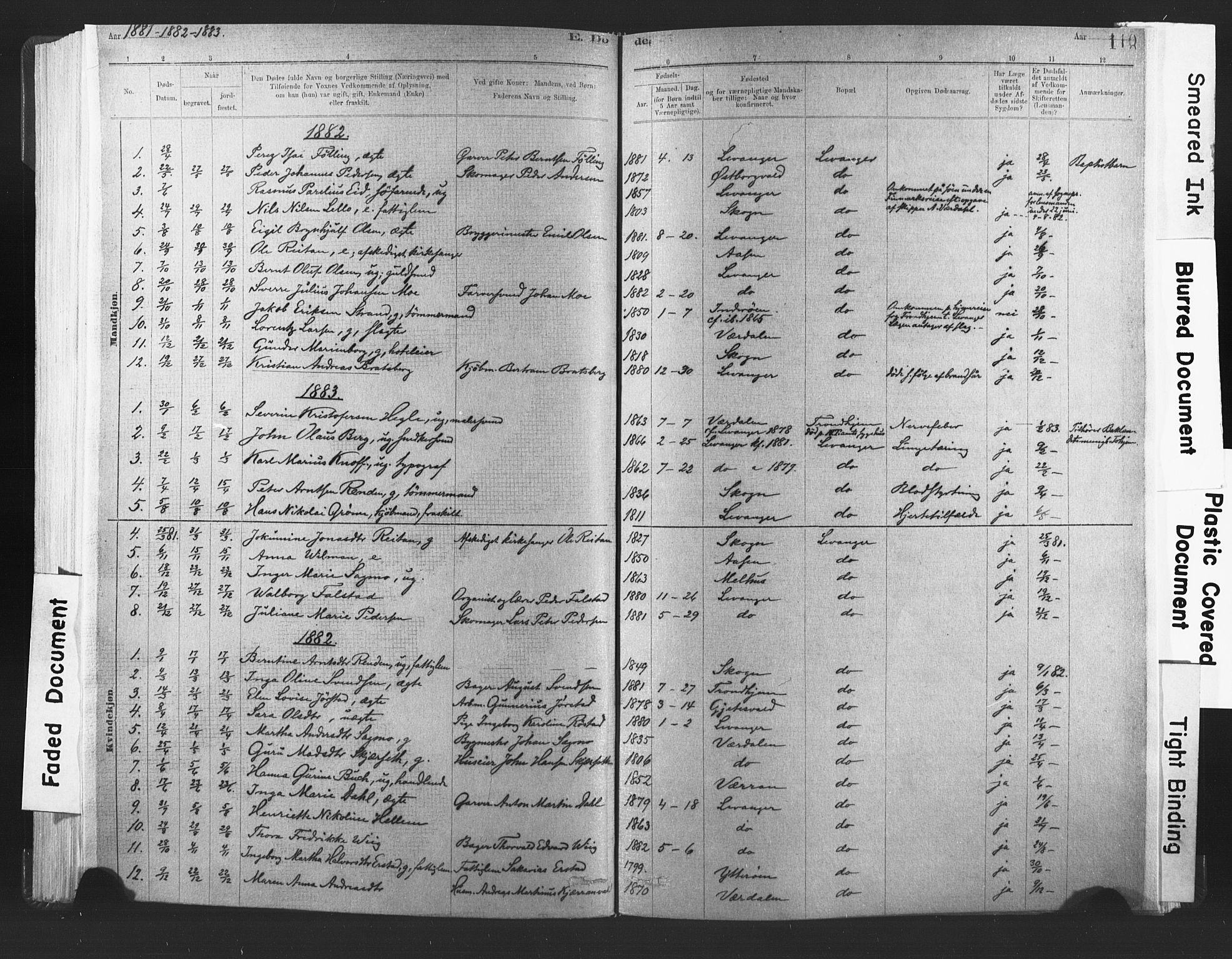 SAT, Ministerialprotokoller, klokkerbøker og fødselsregistre - Nord-Trøndelag, 720/L0189: Ministerialbok nr. 720A05, 1880-1911, s. 110