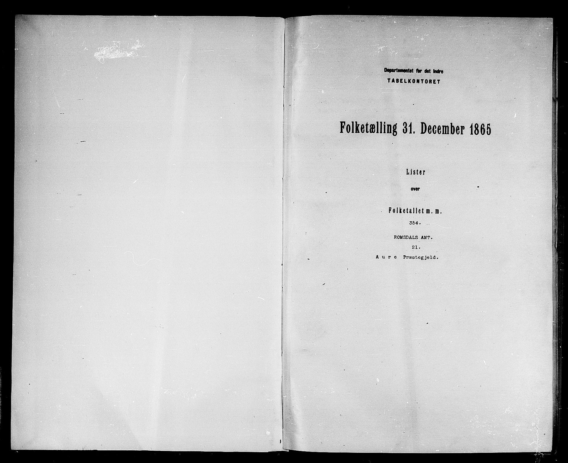 RA, Folketelling 1865 for 1569P Aure prestegjeld, 1865, s. 3